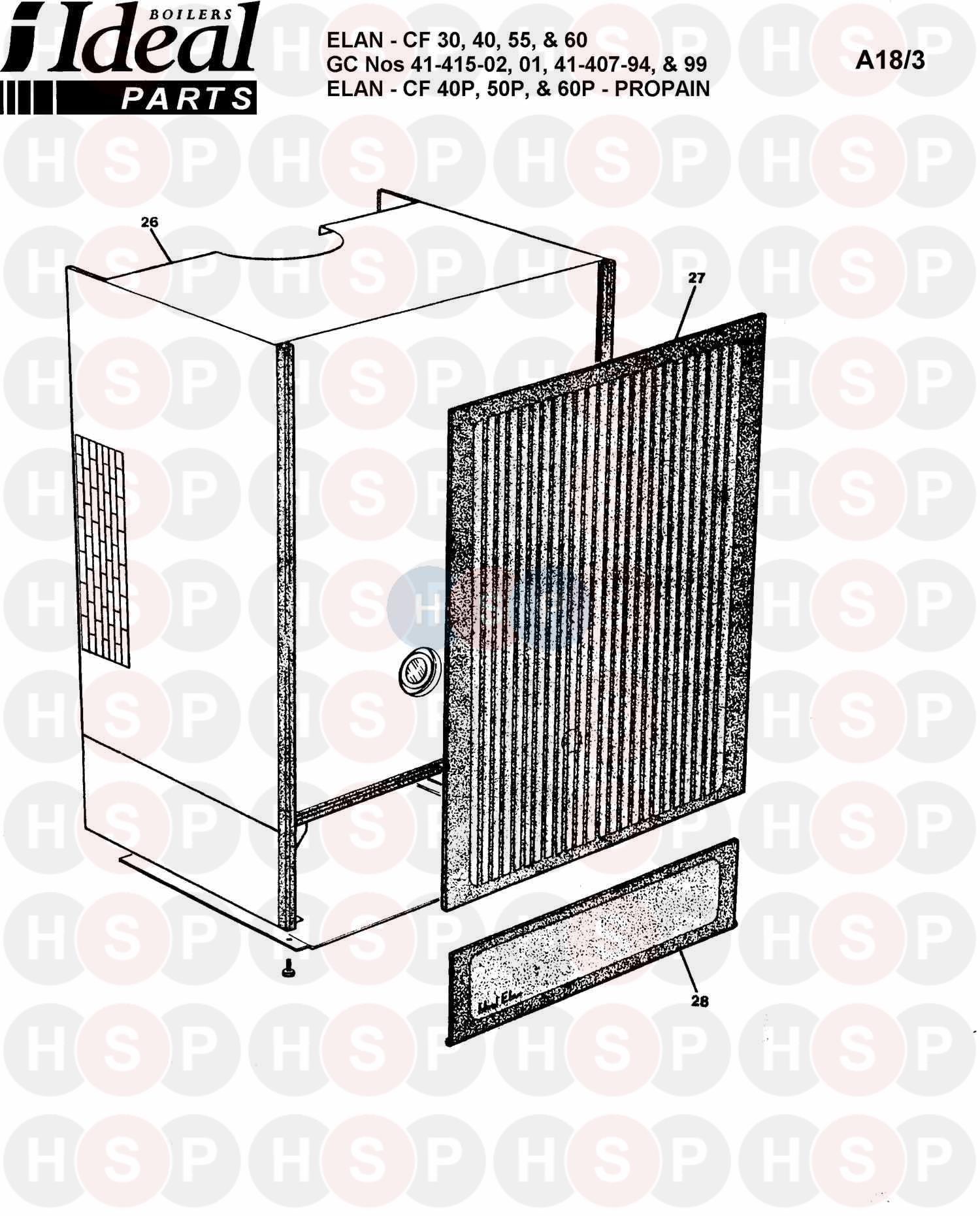 ideal elan cf 40p  boiler casing  diagram