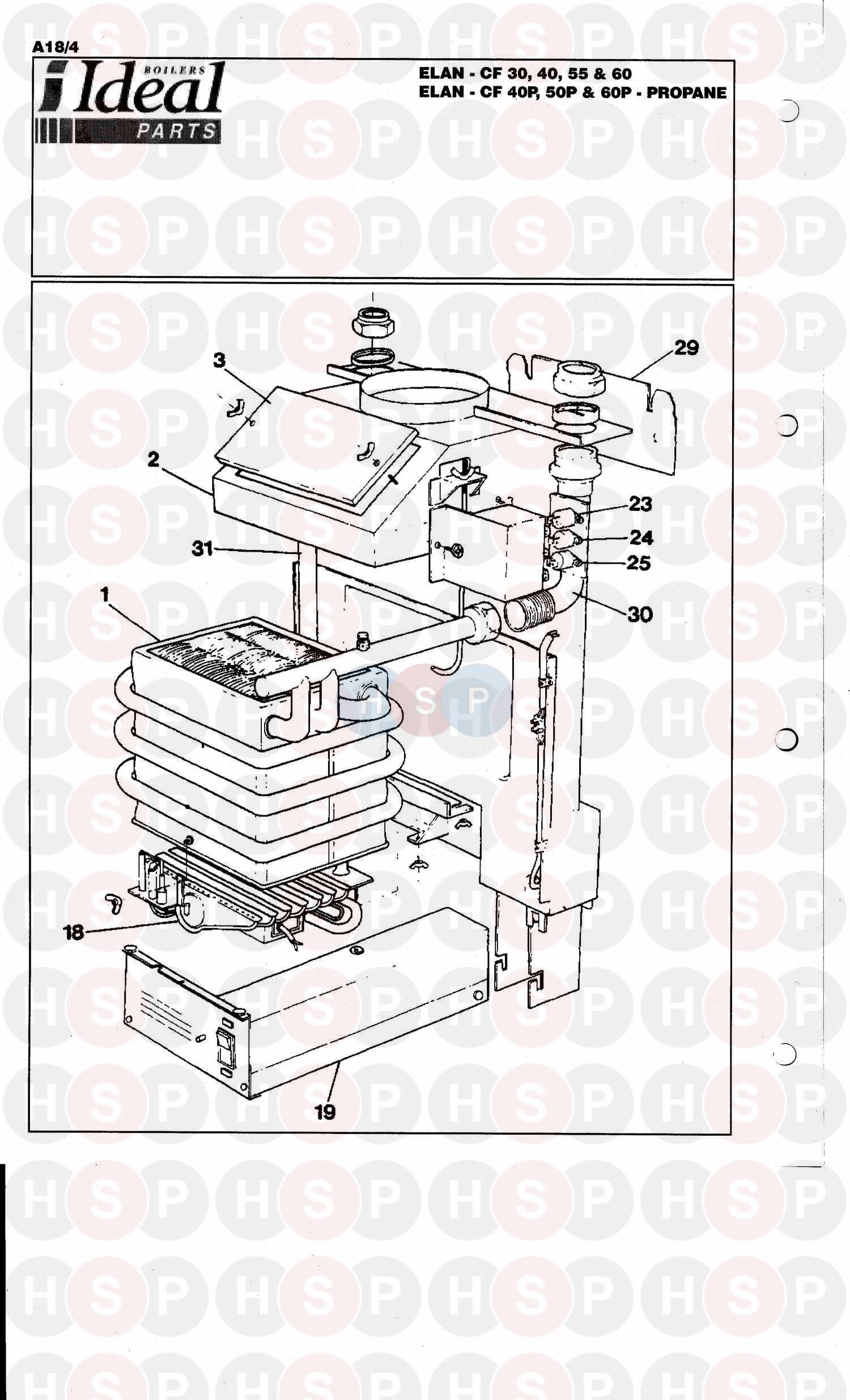 ideal elan cf 30 boiler assembly 1 diagram heating. Black Bedroom Furniture Sets. Home Design Ideas