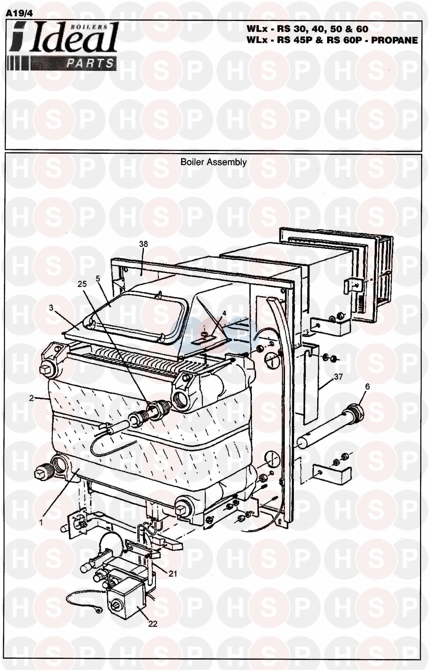 Ideal CONCORD WLX RS 50 (BOILER ASSEMBLY 1) Diagram