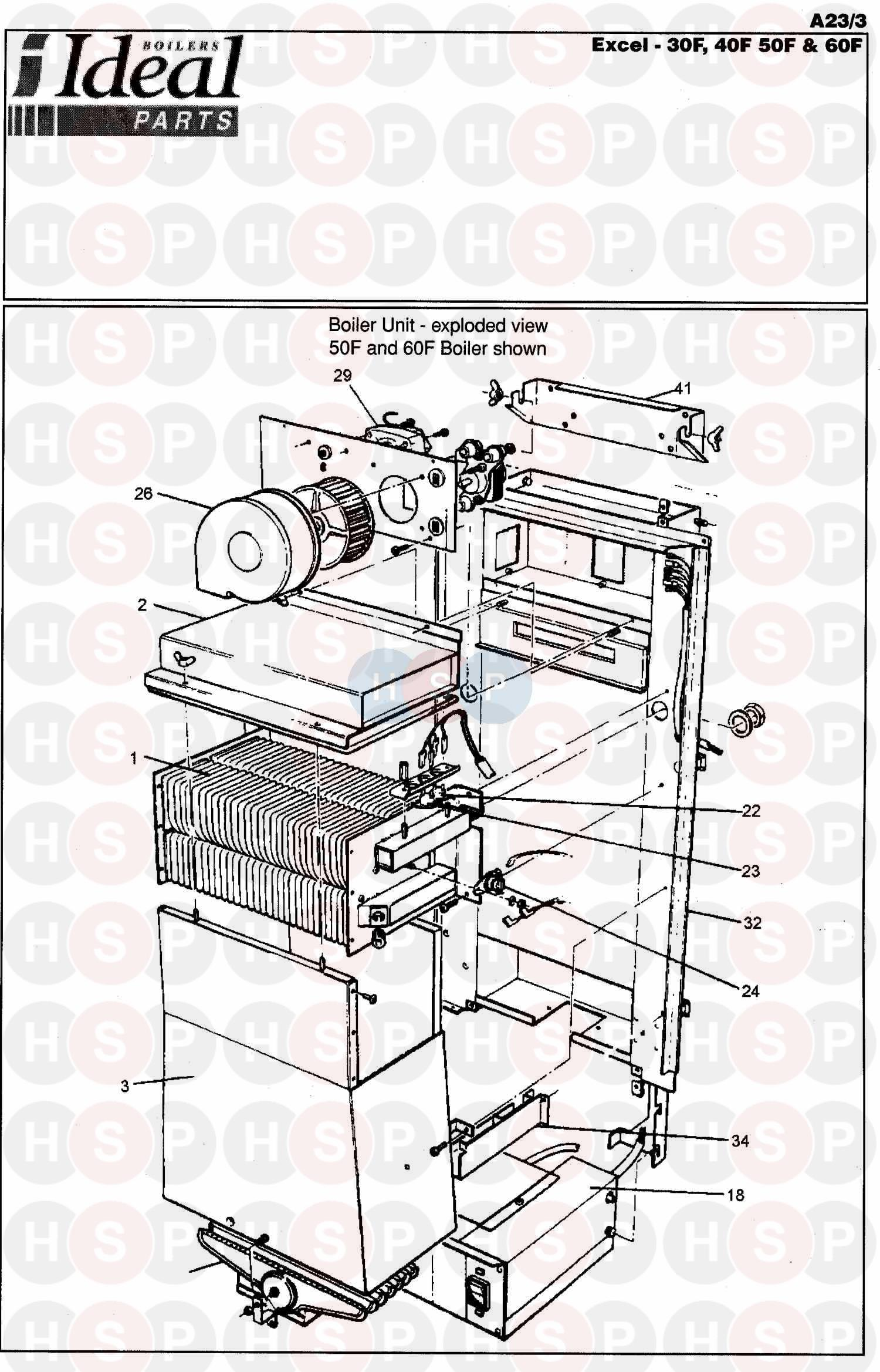 ideal excel 60f appliance diagram  boiler assembly 1