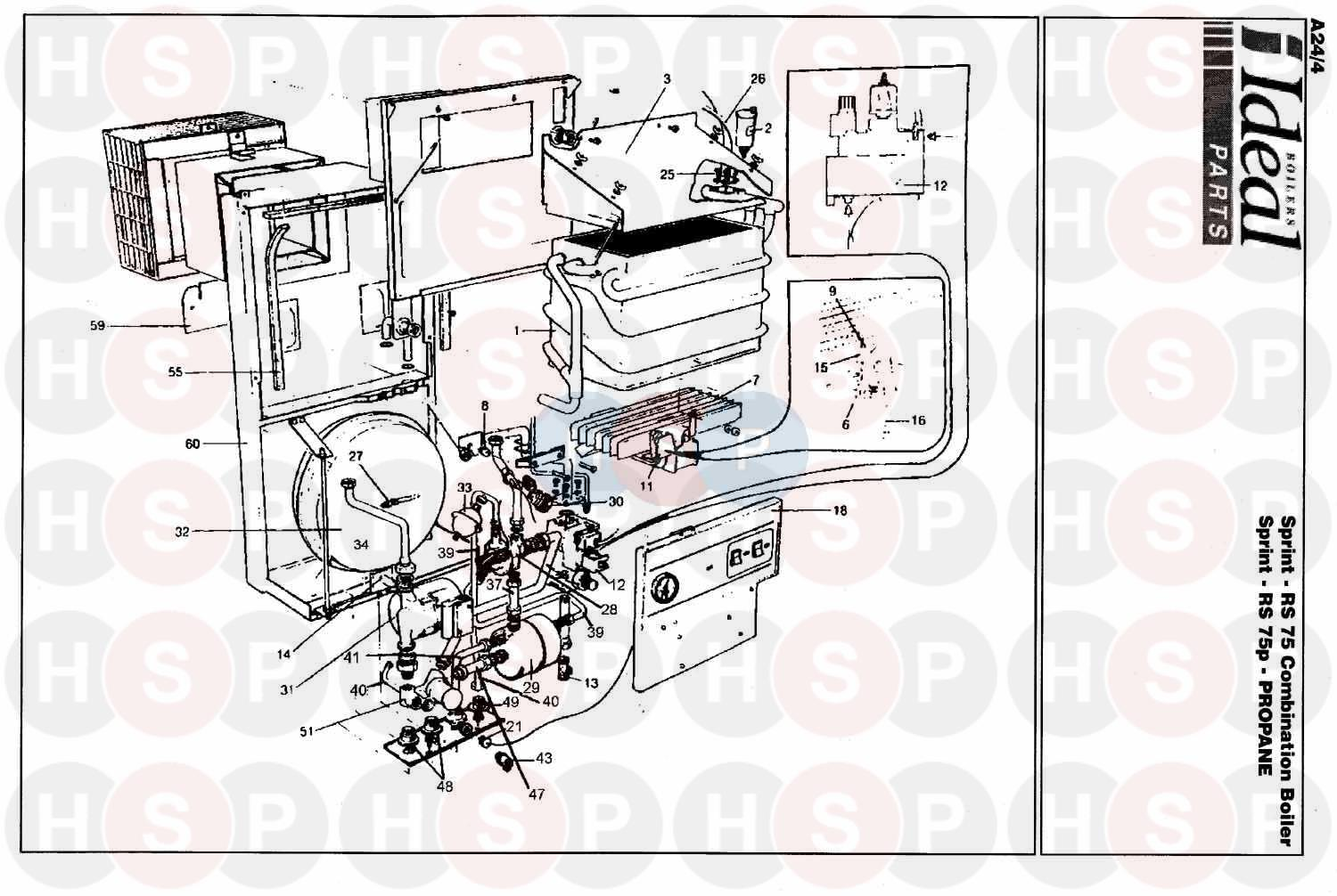 ideal sprint rs 75  boiler assembly 1  diagram