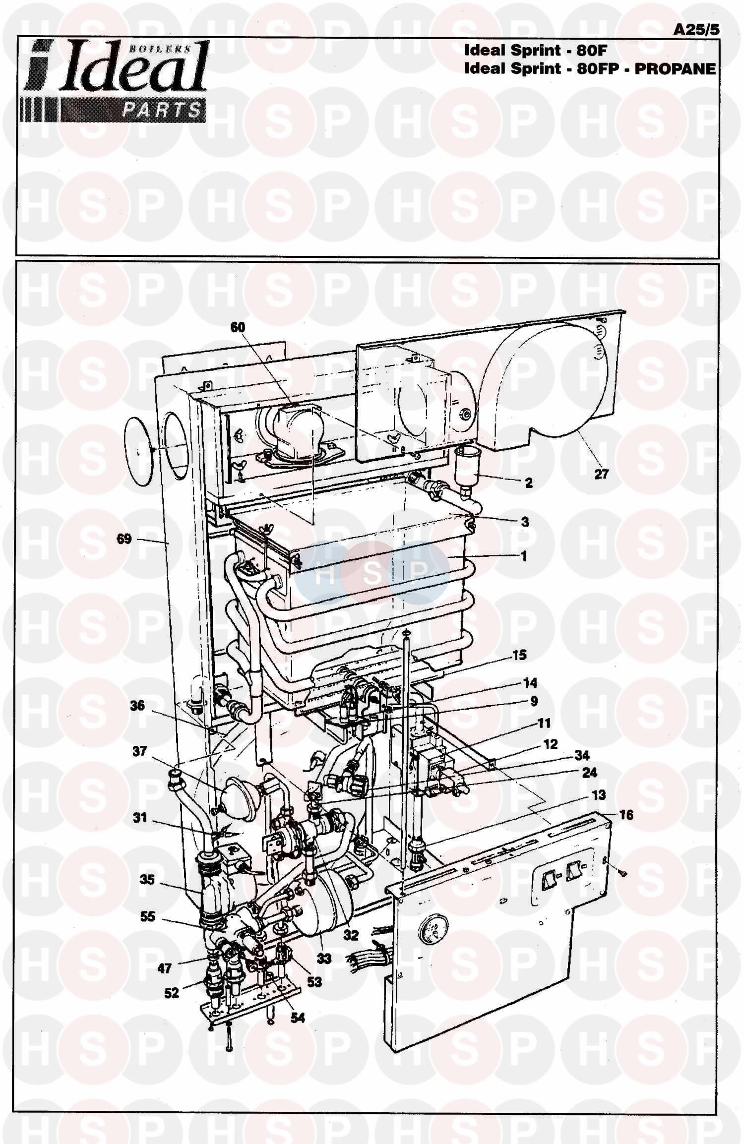 ideal sprint 80f appliance diagram  boiler assembly 1