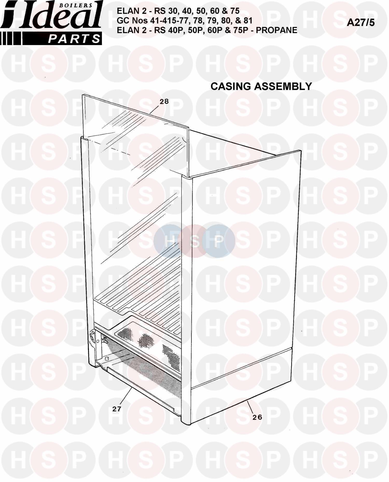 Ideal ELAN 2 RS 40 Appliance Diagram (Boiler Casing