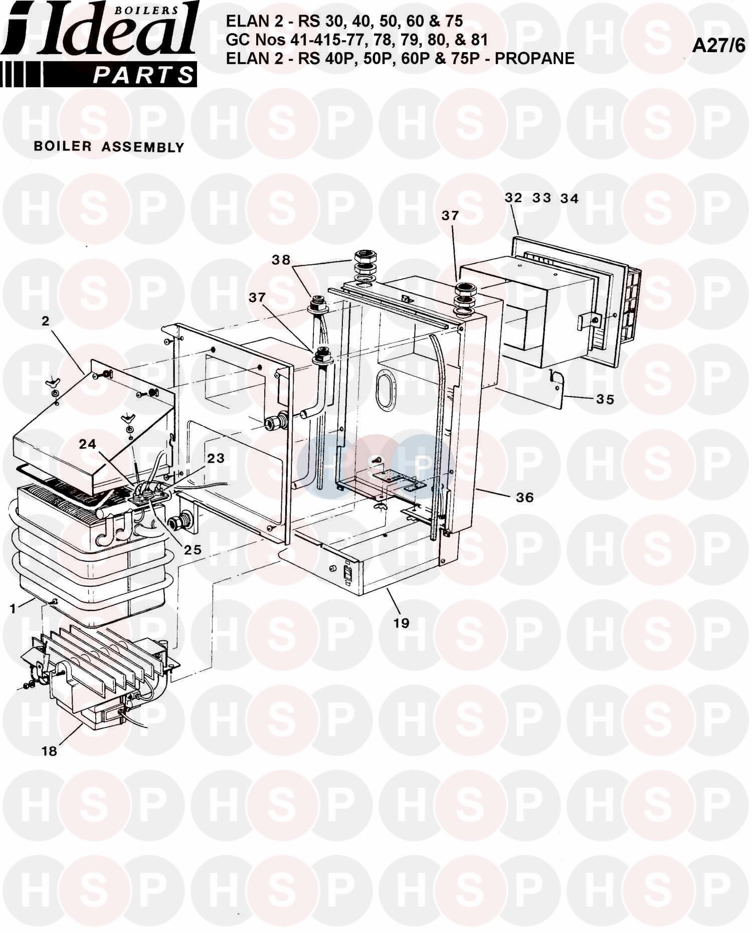 Ideal ELAN 2 RS 40 (BOILER ASSEMBLY 1) Diagram