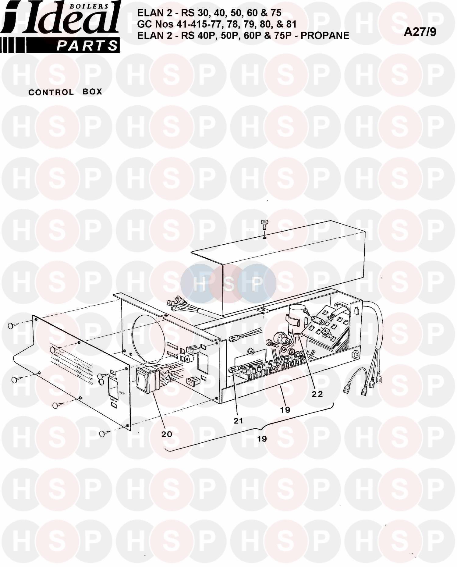 Ideal ELAN 2 RS 50 Appliance Diagram (Control Box Ass