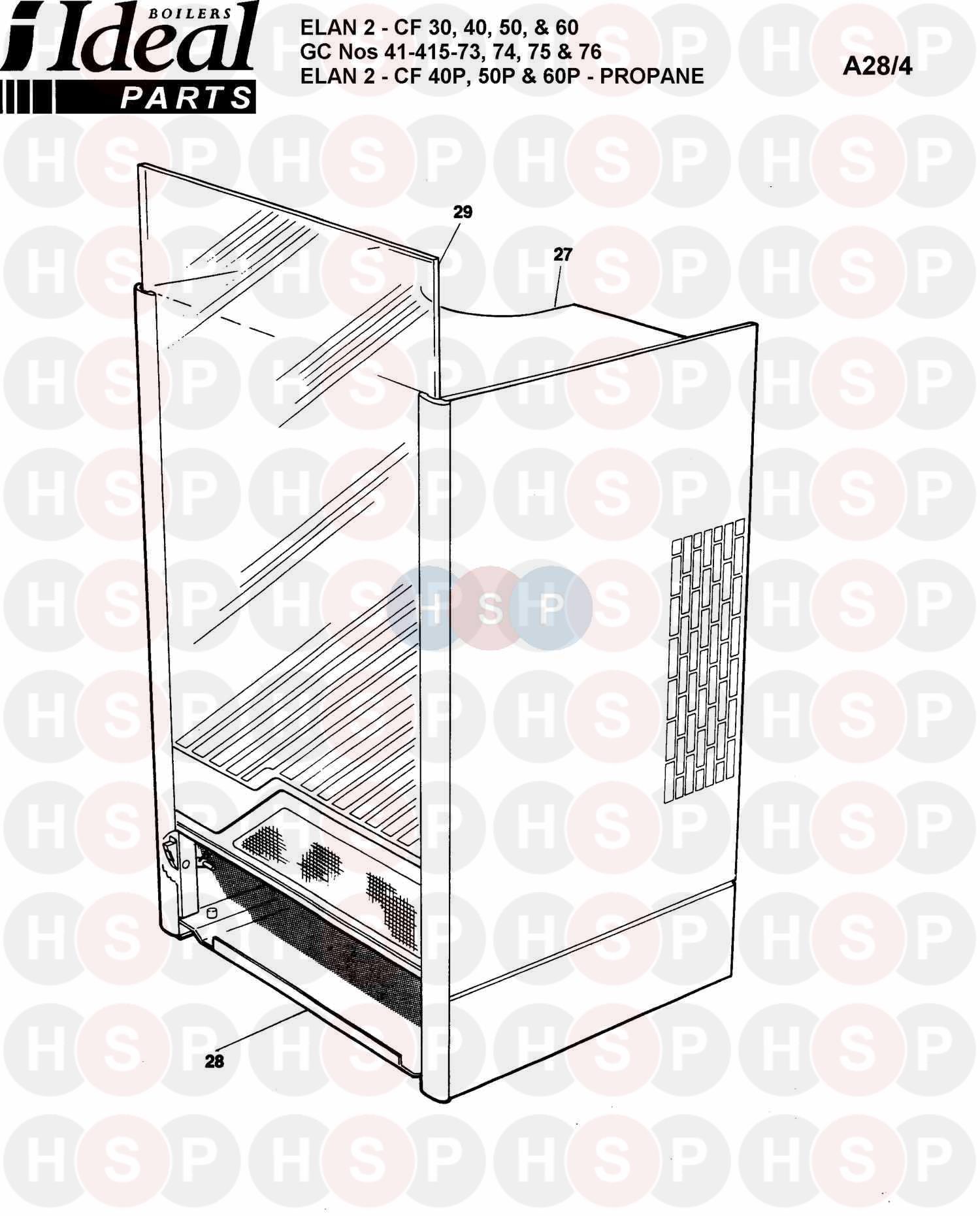 ideal elan 2 cf 50 appliance diagram  boiler casing