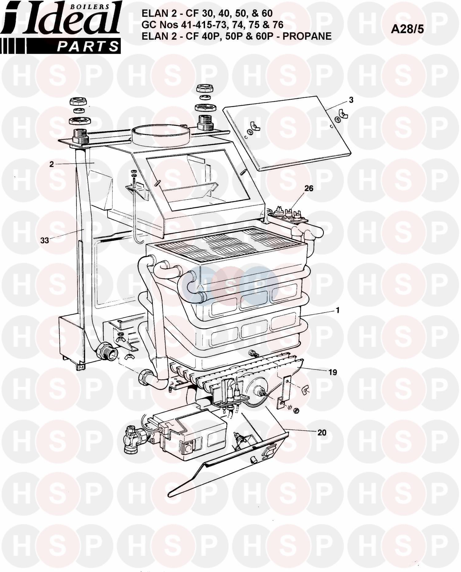 ideal elan 2 cf 40 boiler assembly 1 diagram heating. Black Bedroom Furniture Sets. Home Design Ideas
