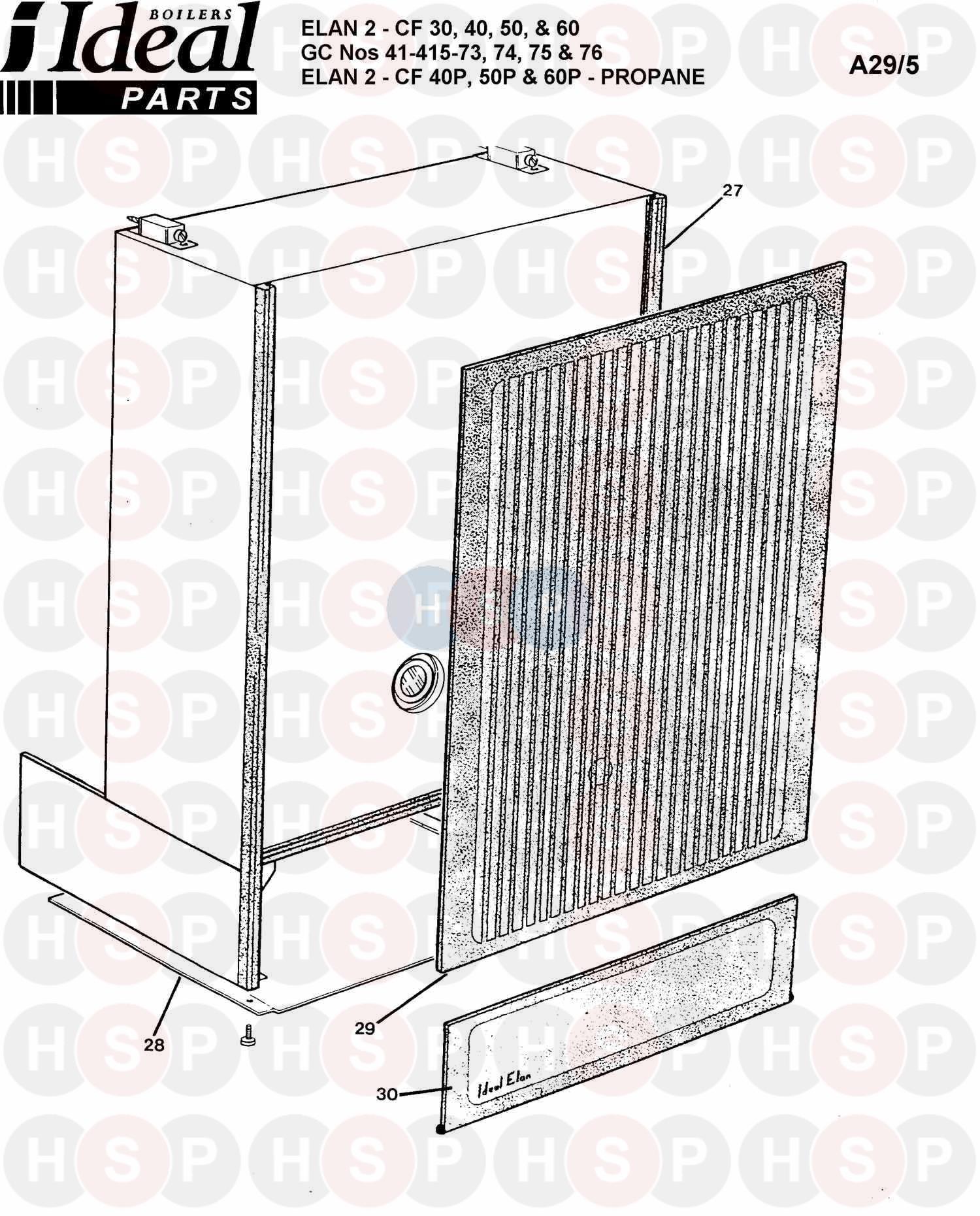 ideal elan 2 40fp  boiler casing  diagram