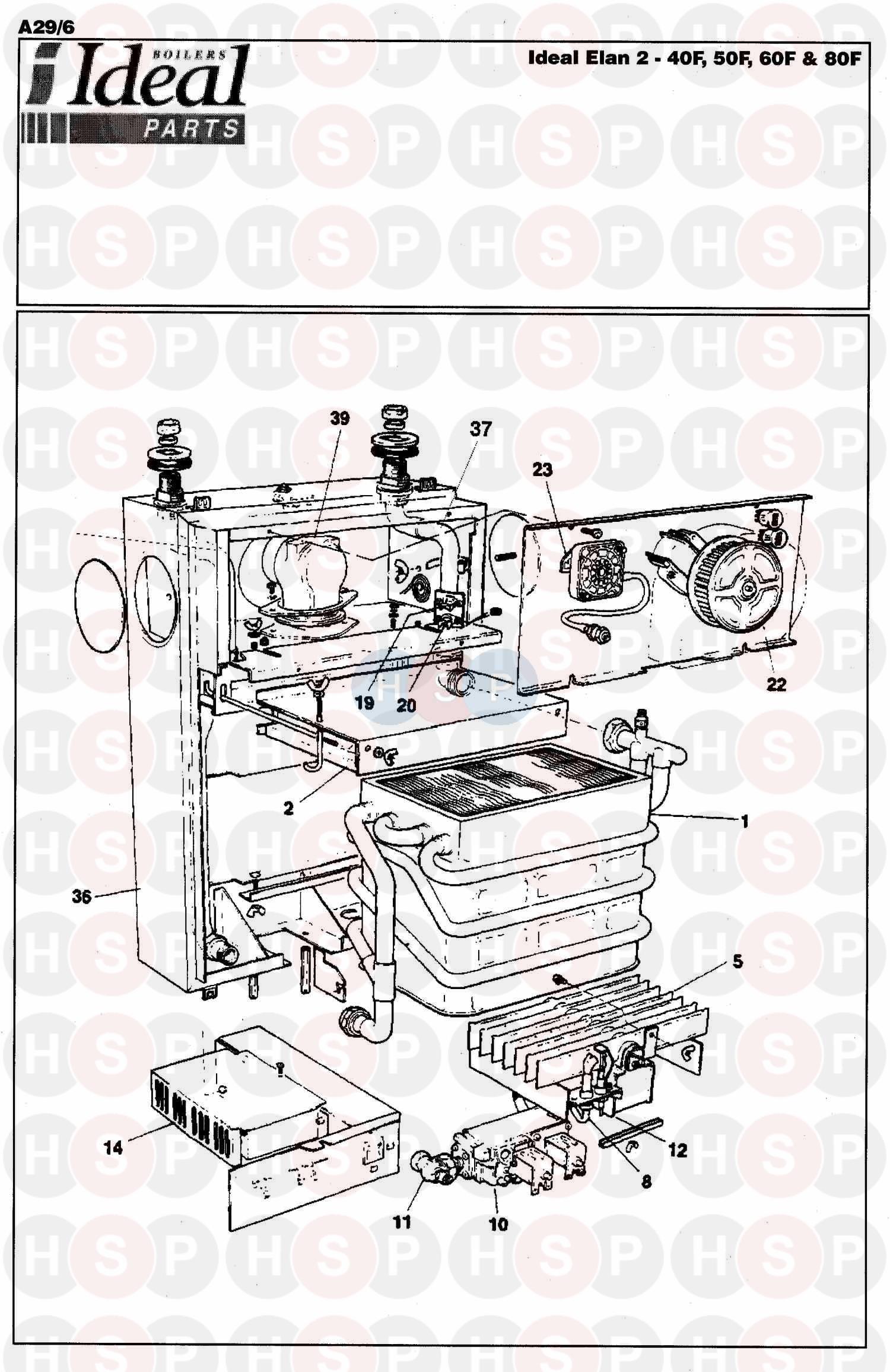 ideal elan 2 40f boiler assembly 1 diagram heating. Black Bedroom Furniture Sets. Home Design Ideas
