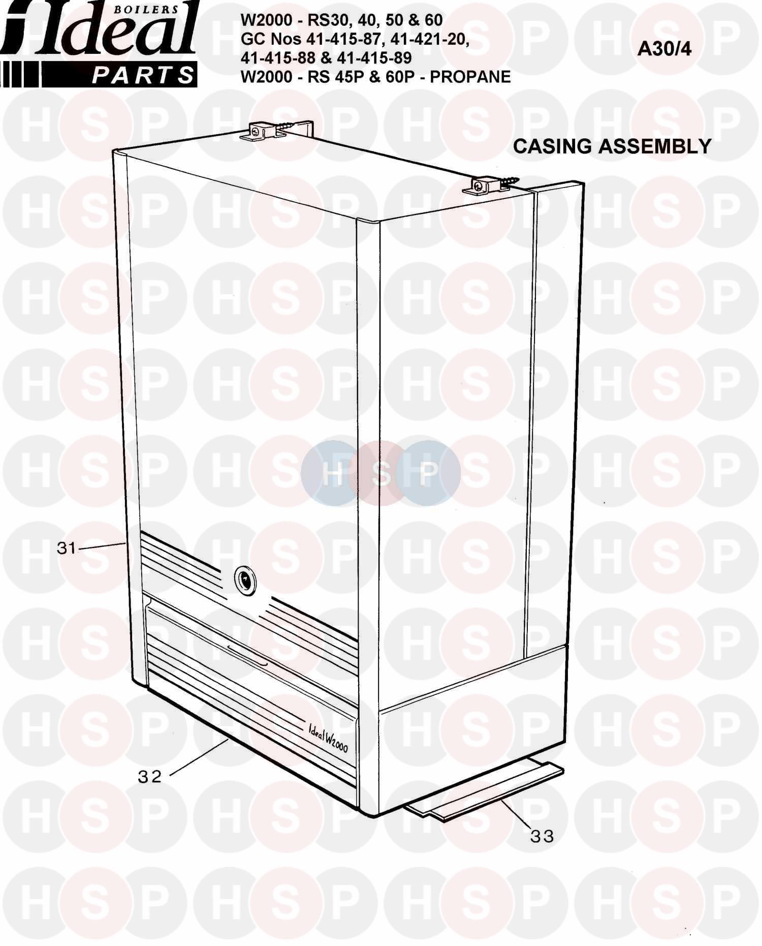 ideal w2000 rs 50  boiler casing  diagram