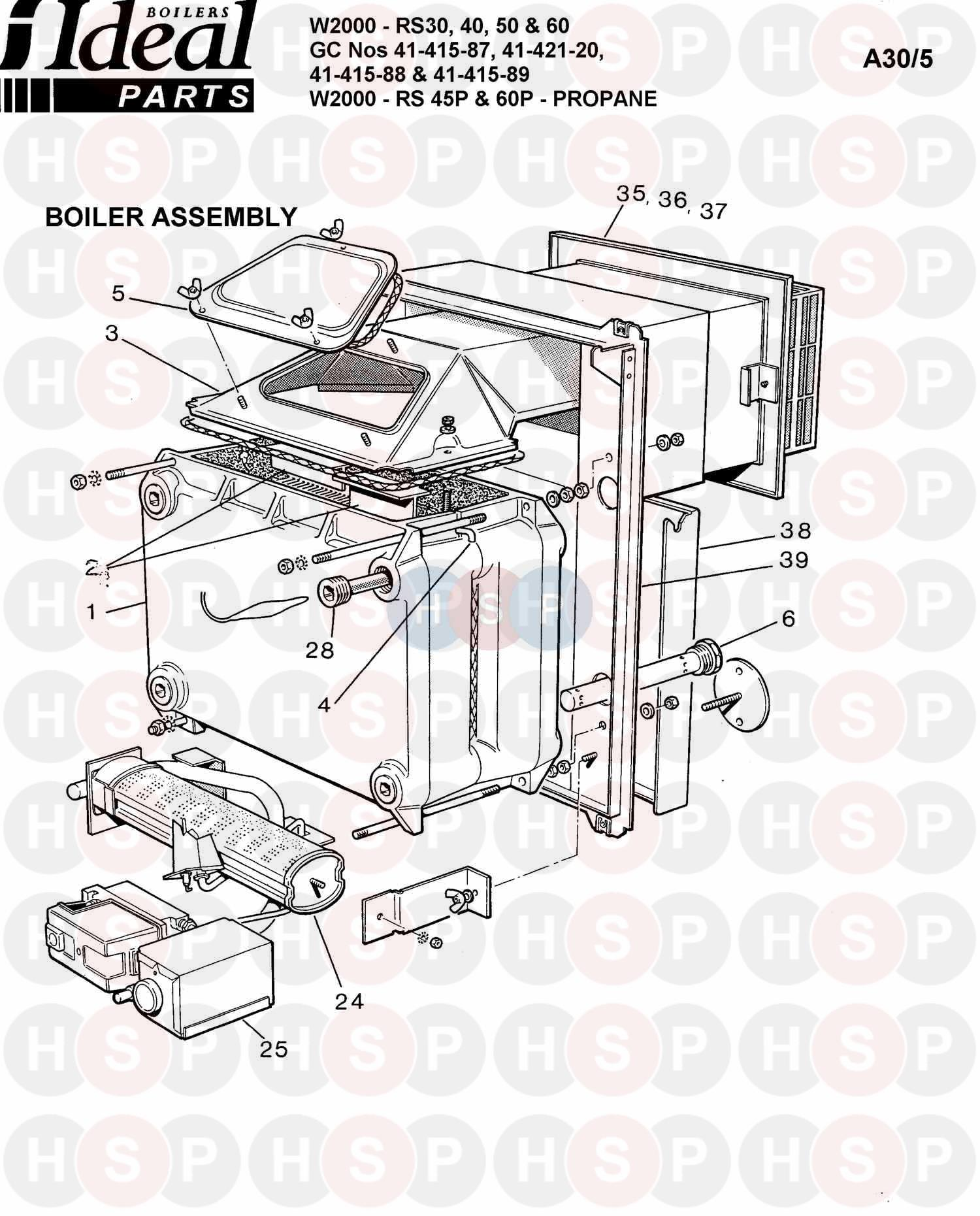 ideal w2000 rs 50  boiler assembly 1  diagram