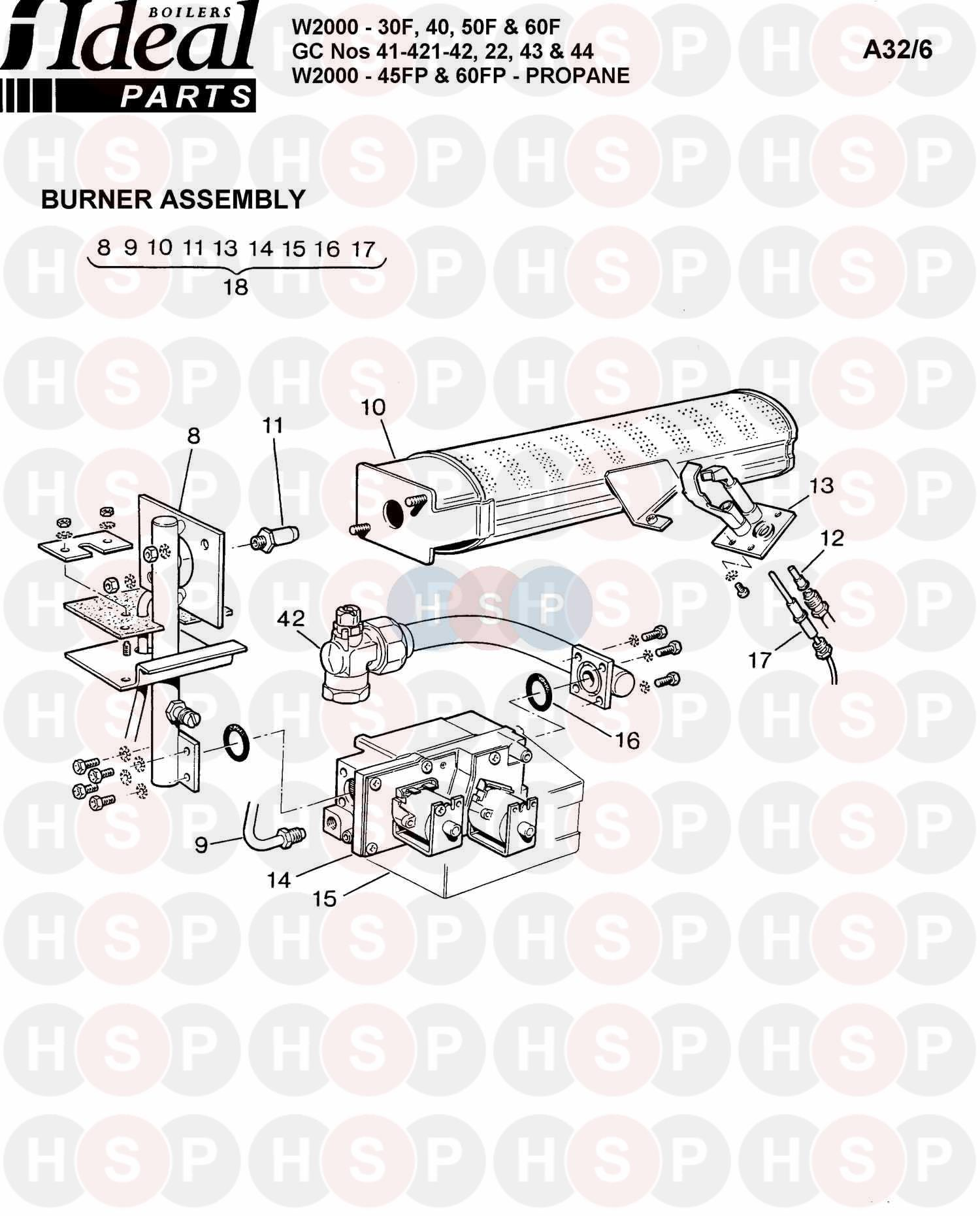 ideal w2000 40f  burner control ass 1  diagram