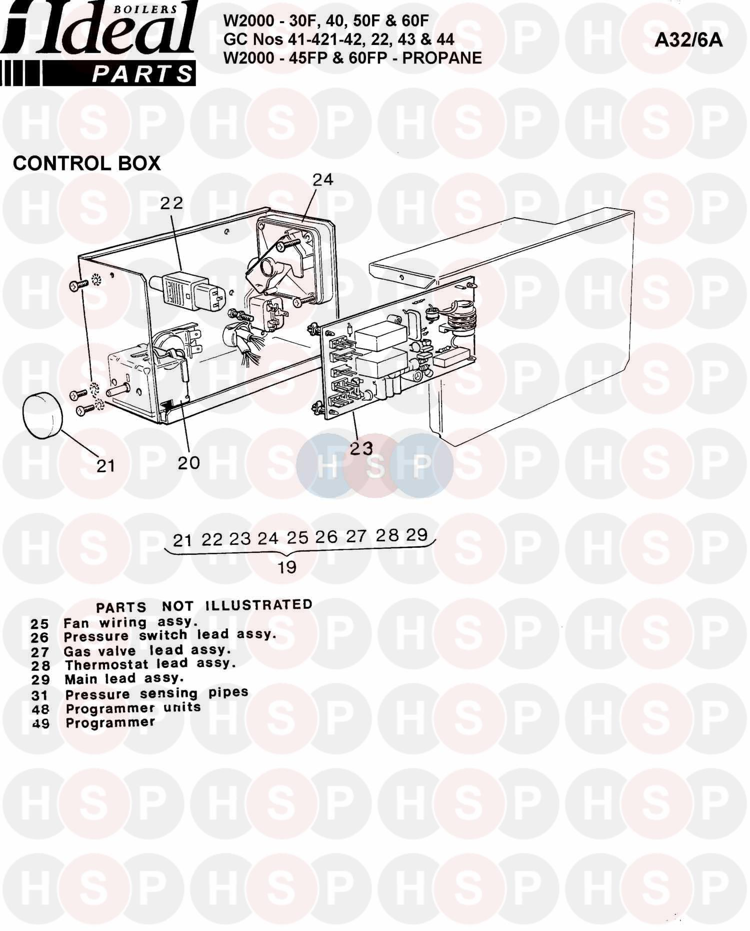 ideal w2000 30f  control box ass  diagram