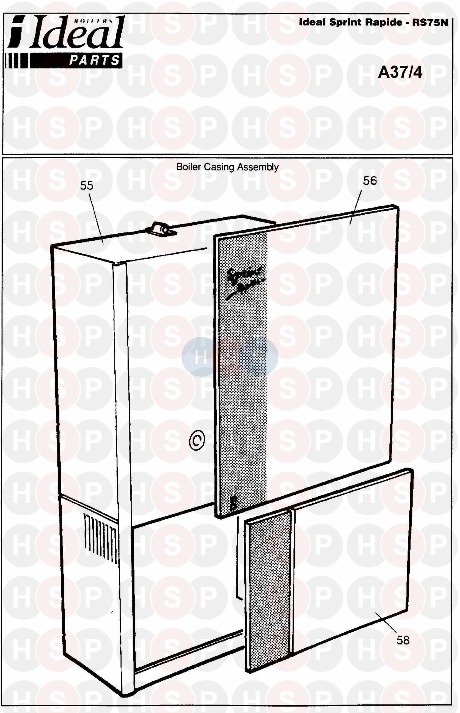 Ideal SPRINT RAPIDE RS 75N (Boiler Casing) Diagram | Heating