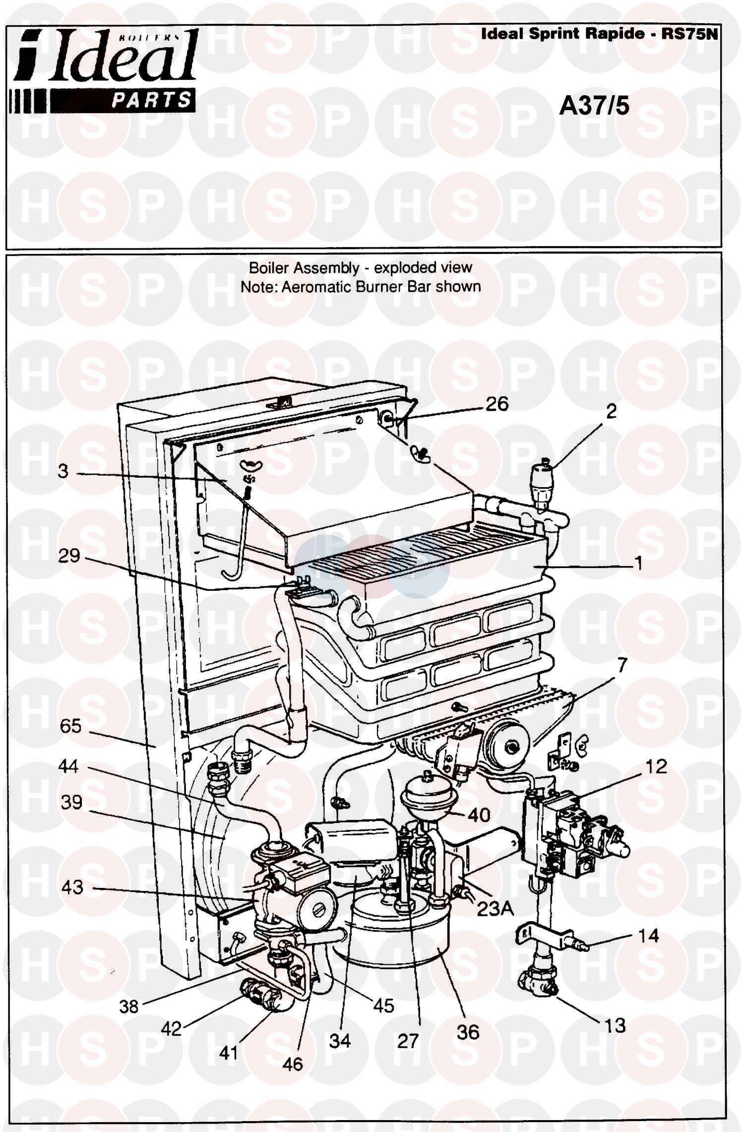 Ideal SPRINT RAPIDE RS 75N (BOILER ASSEMBLY 1) Diagram