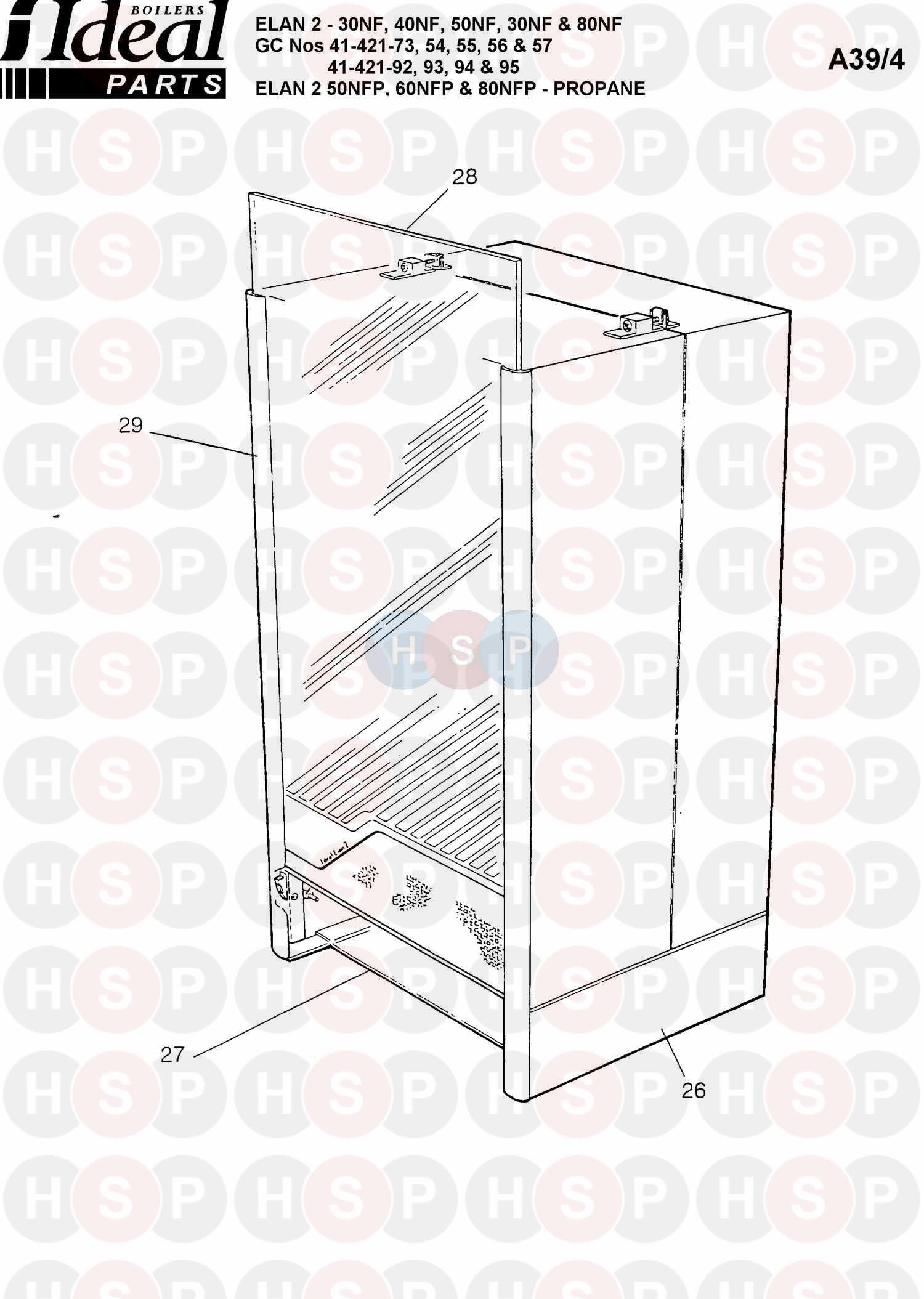 ideal elan 2 80nf  boiler casing  diagram