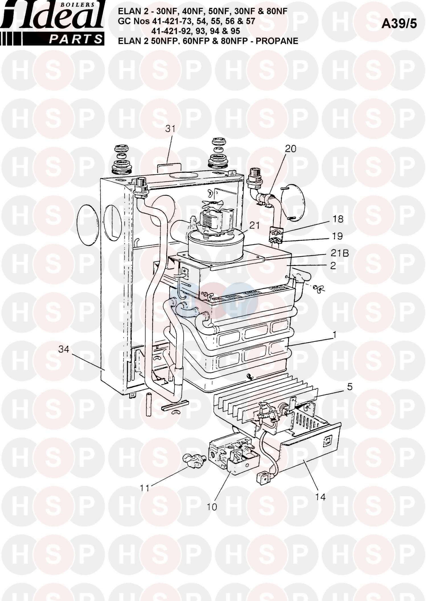 ideal elan 2 50nfp appliance diagram  boiler assembly 1