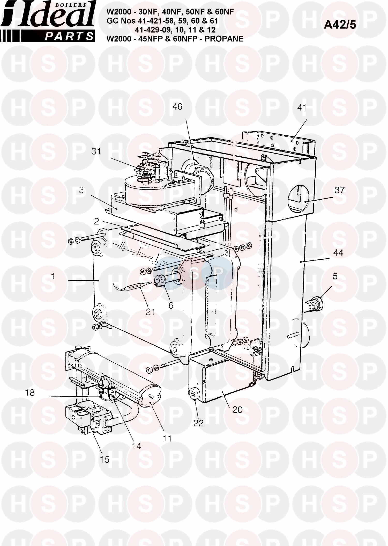 Ideal W2000 30NF (HONEYWELL CONT.) 1991 Appliance Diagram