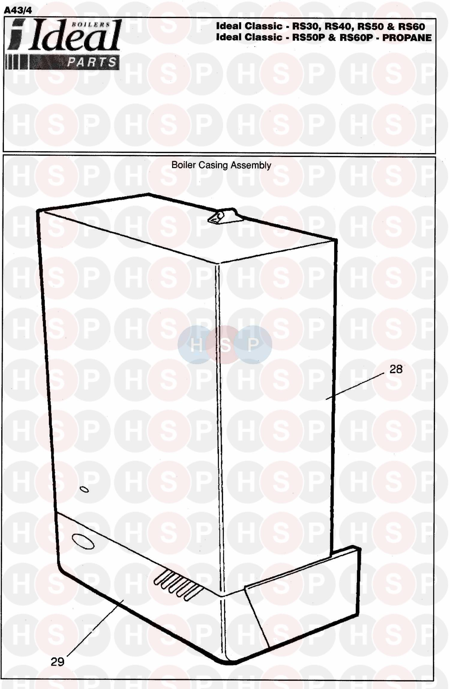 ideal classic rs 30 appliance diagram  boiler casing