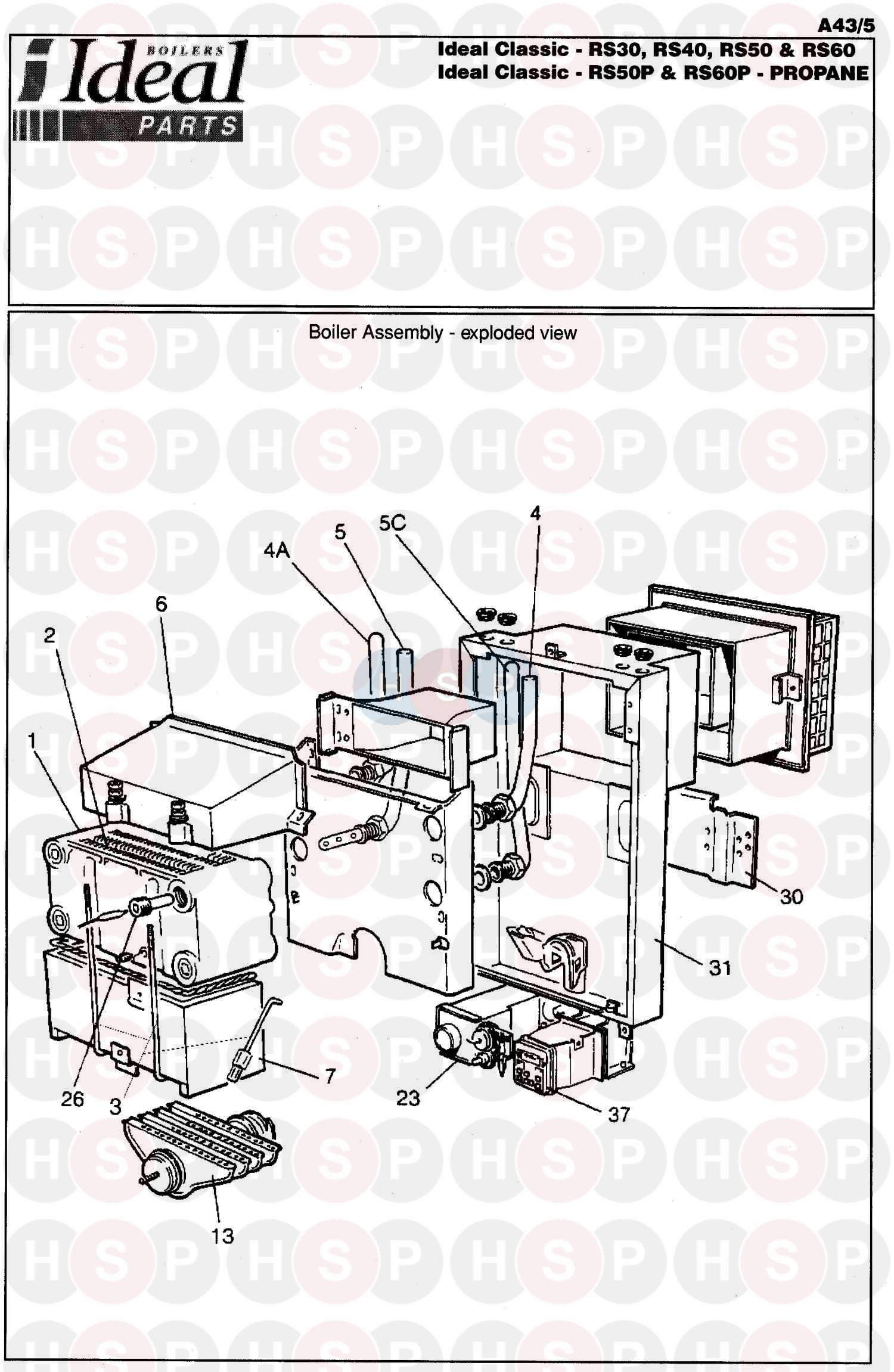 ideal classic rs 30 appliance diagram  boiler assembly 1