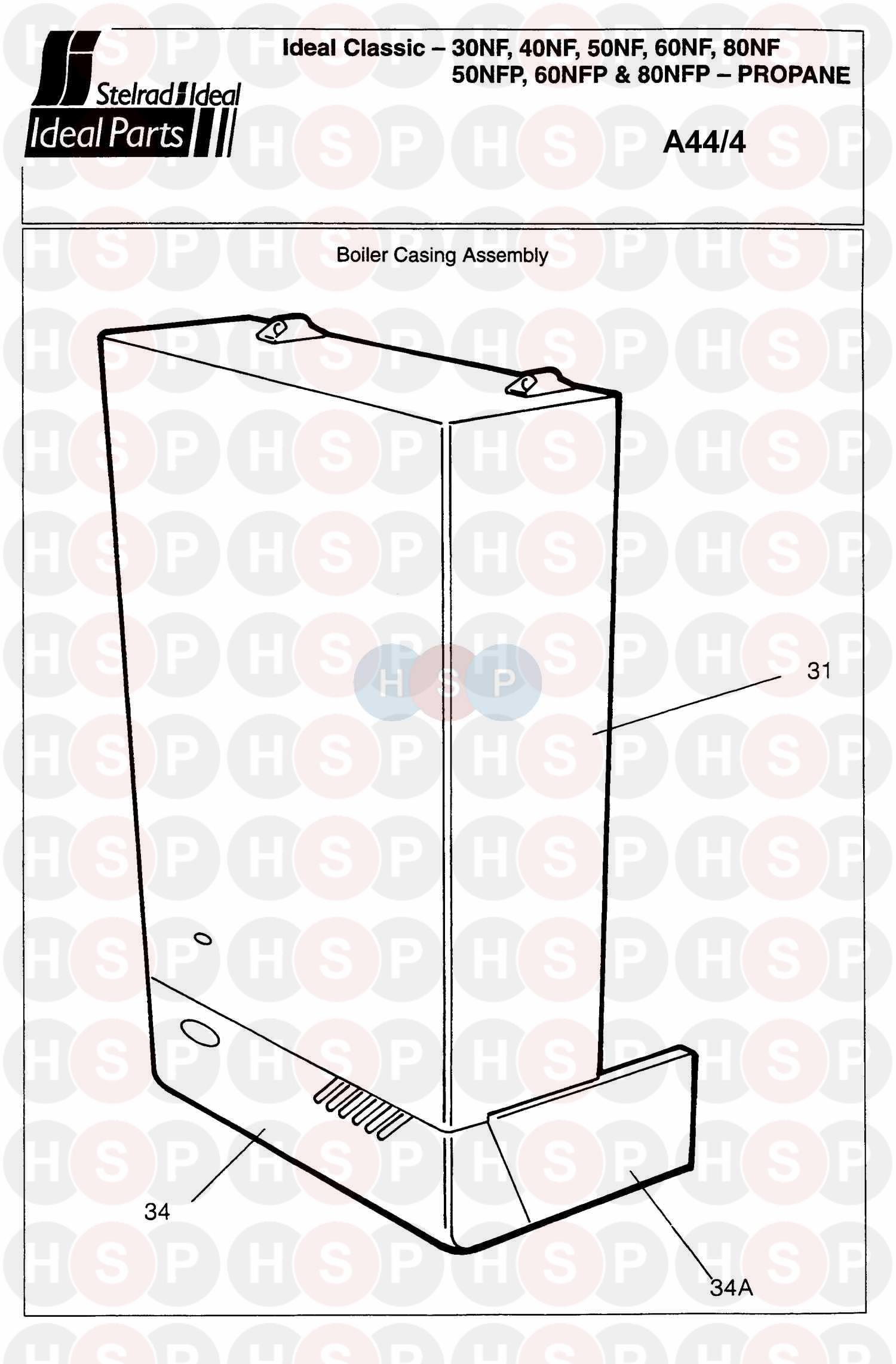 ideal classic 40nf  boiler casing  diagram