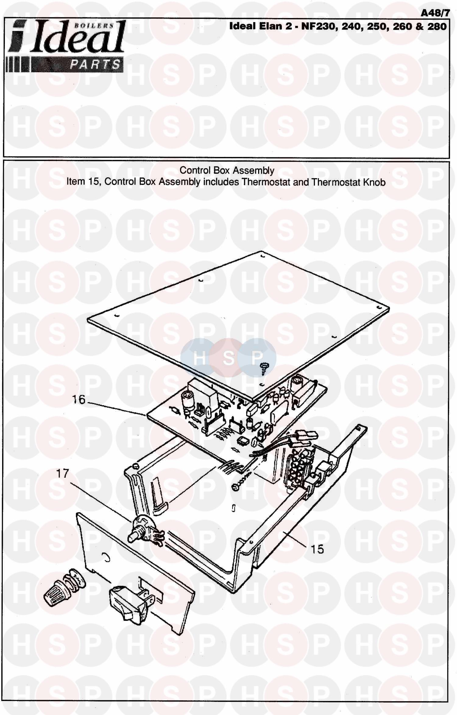 Ideal ELAN 2 NF 250 Appliance Diagram (Control Box Ass