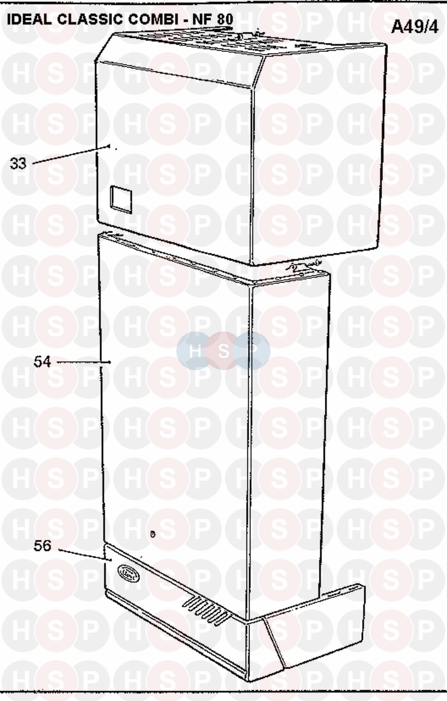 Ideal Classic Combi Nf80  Boiler Casing Diagram
