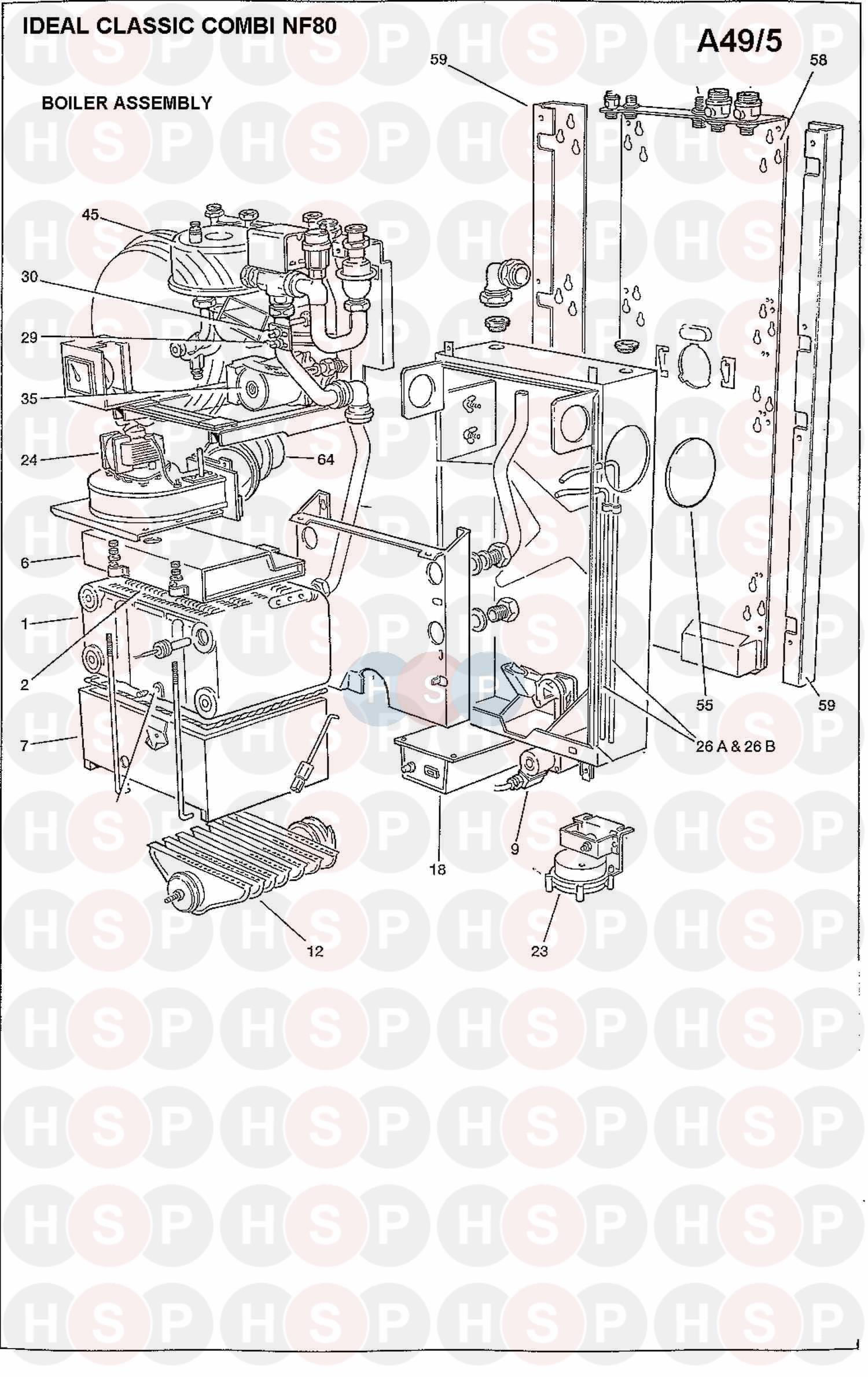 Ideal CLASSIC COMBI NF80 (BOILER ASSEMBLY 1) Diagram