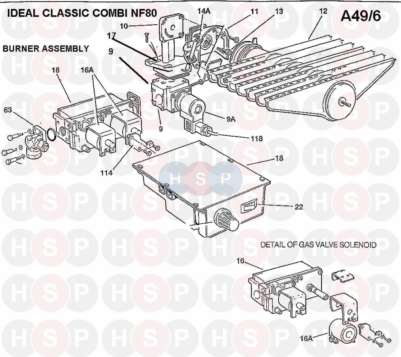 Ideal CLASSIC COMBI NF80 (Burner Control Ass 1)Diagram