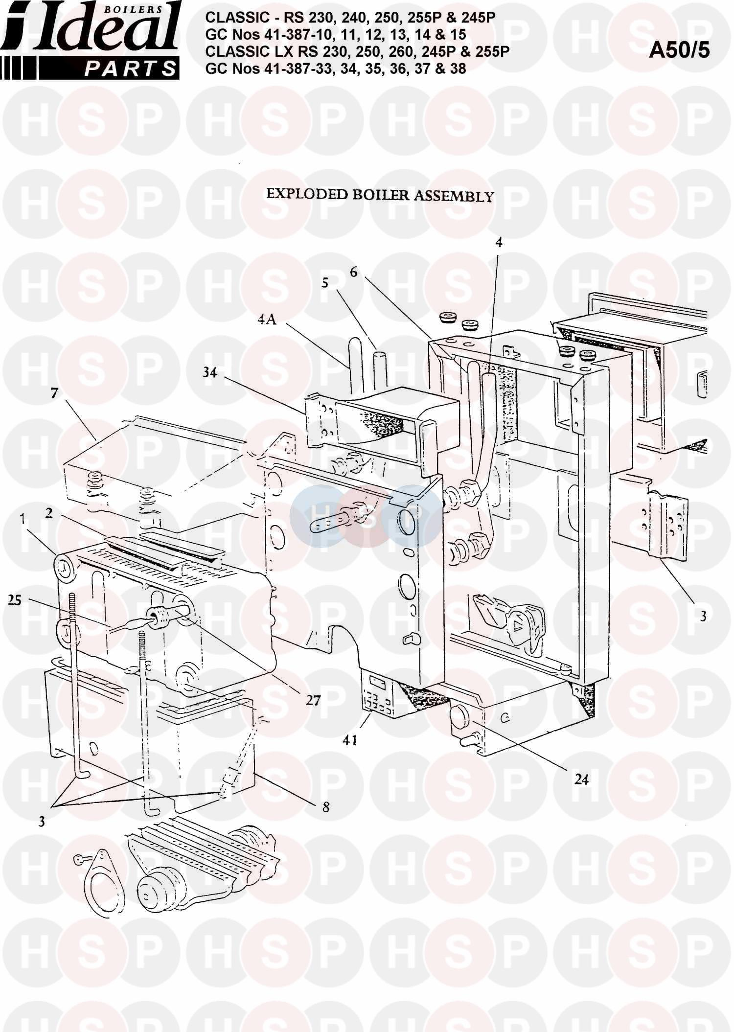 Ideal CLASSIC RS 250 Appliance Diagram (BOILER ASSEMBLY 1