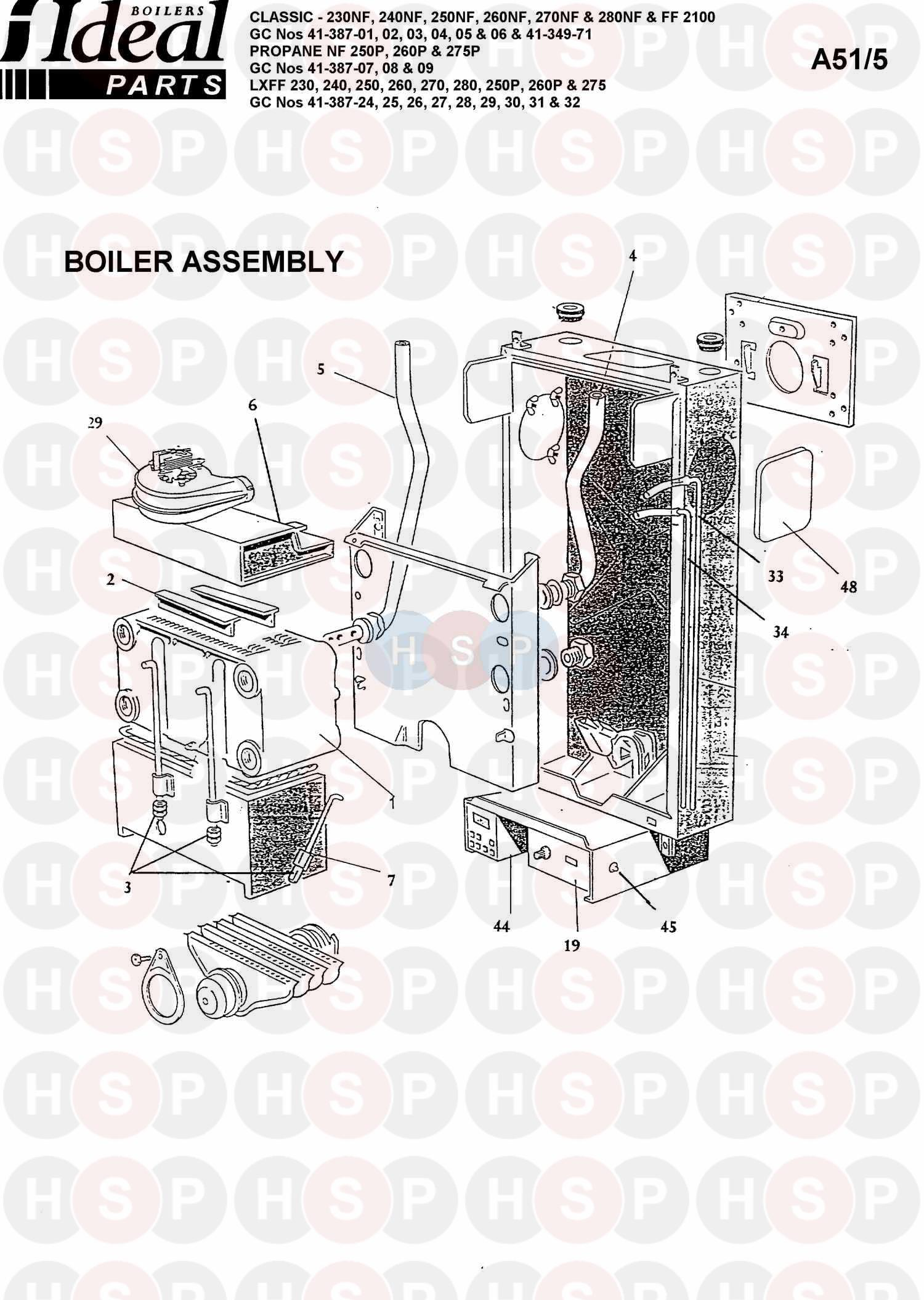 ideal classic 240nf  boiler assembly 1  diagram