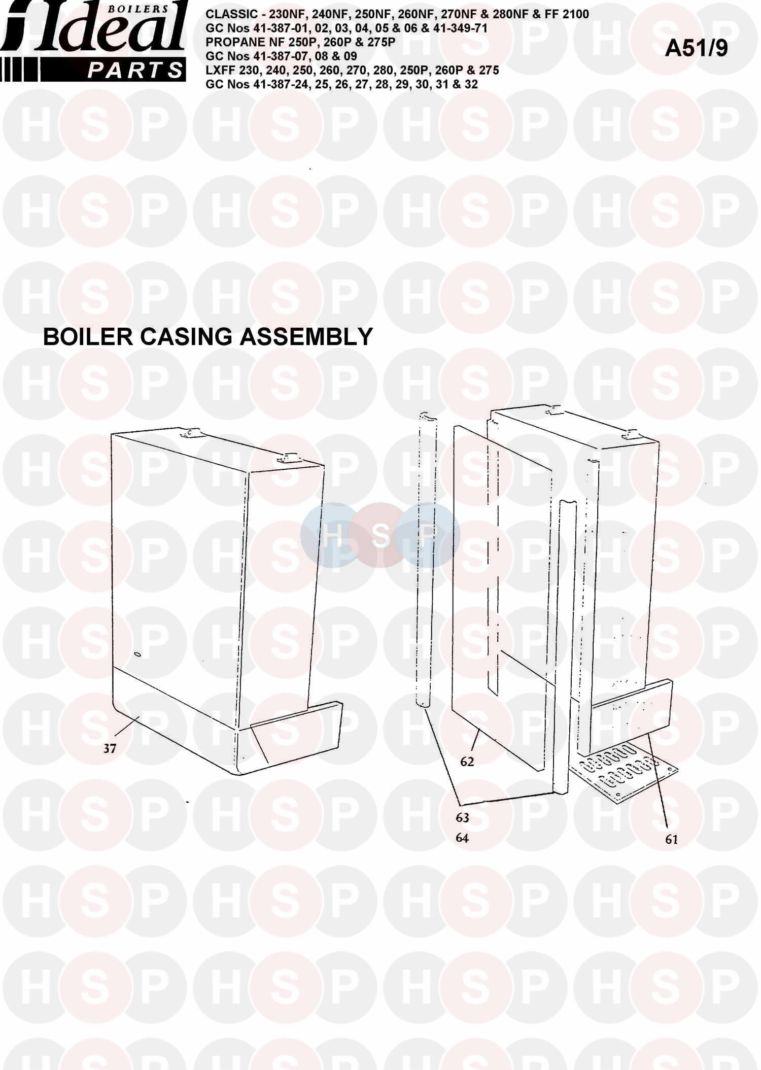 ideal classic lxff 240 appliance diagram  boiler casing