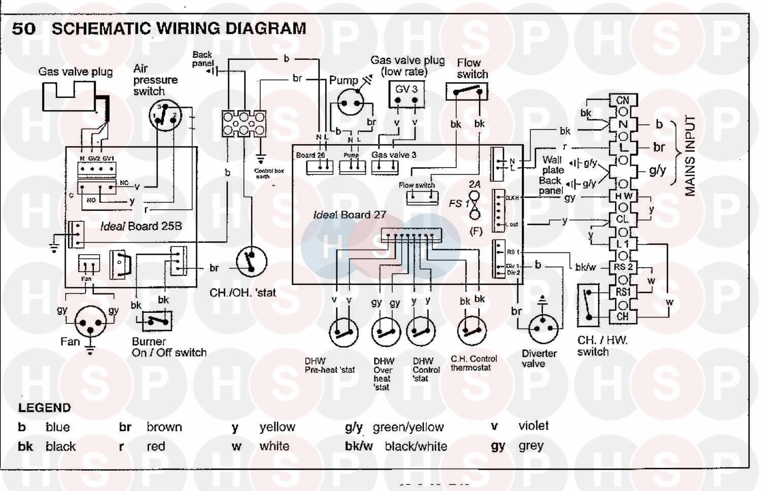 Ideal CLASSIC COMBI 280 (WIRING DIAGRAM 2) Diagram