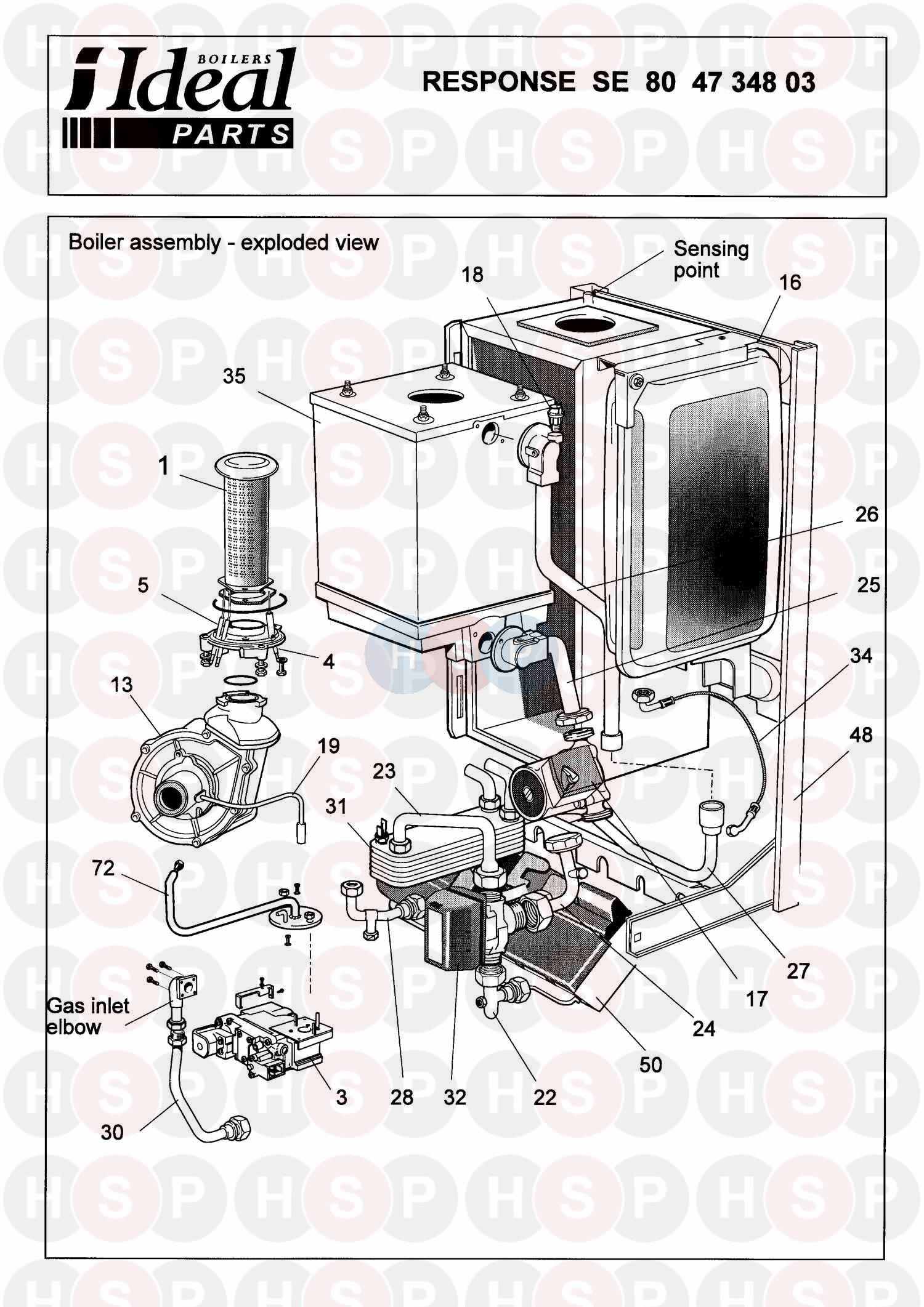 Ideal RESPONSE SE 80  BOILER ASSEMBLY 1     Diagram      Heating