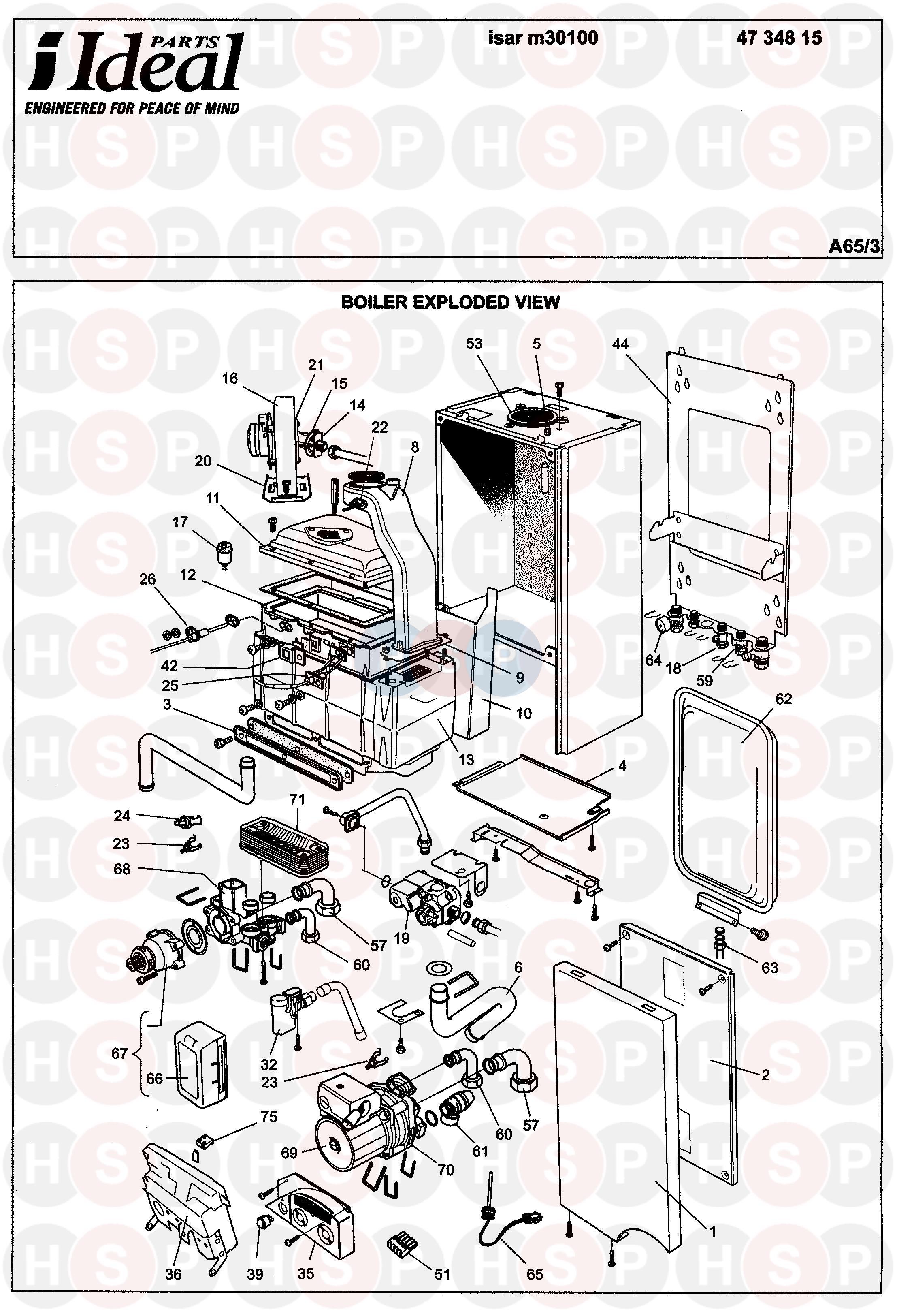 ideal isar m30100 appliance diagram  boiler