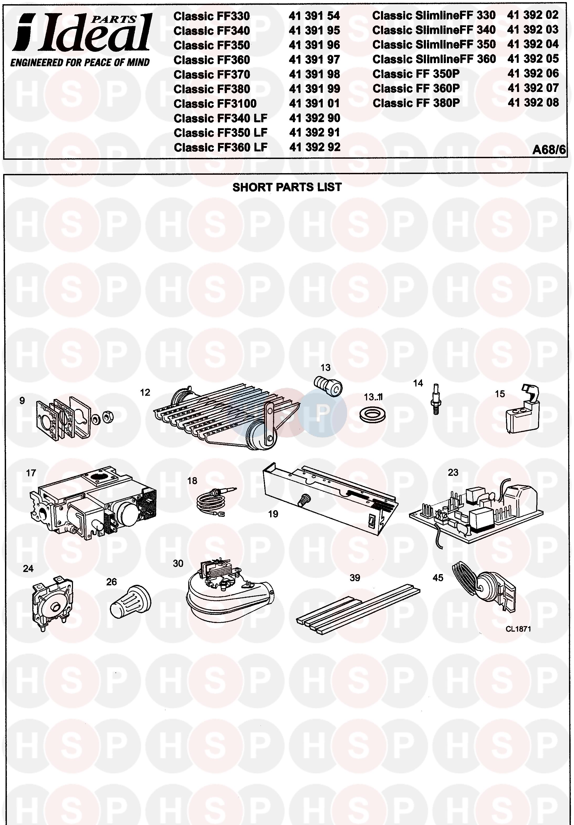 Ideal CLASSIC FF370 Appliance Diagram (FIRST LINE SPARES