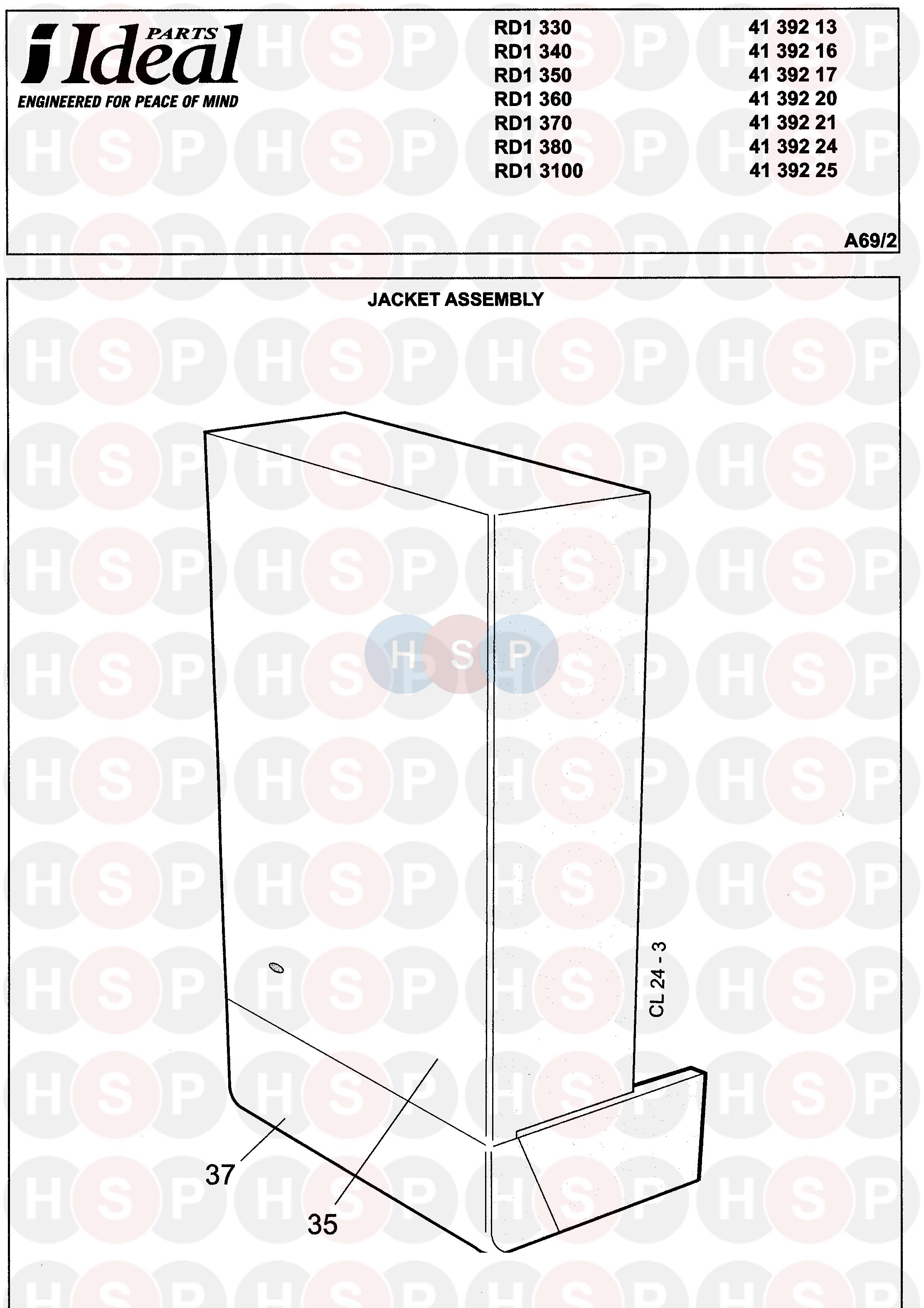 Ideal RD1 350  CASING     Diagram      Heating Spare Parts