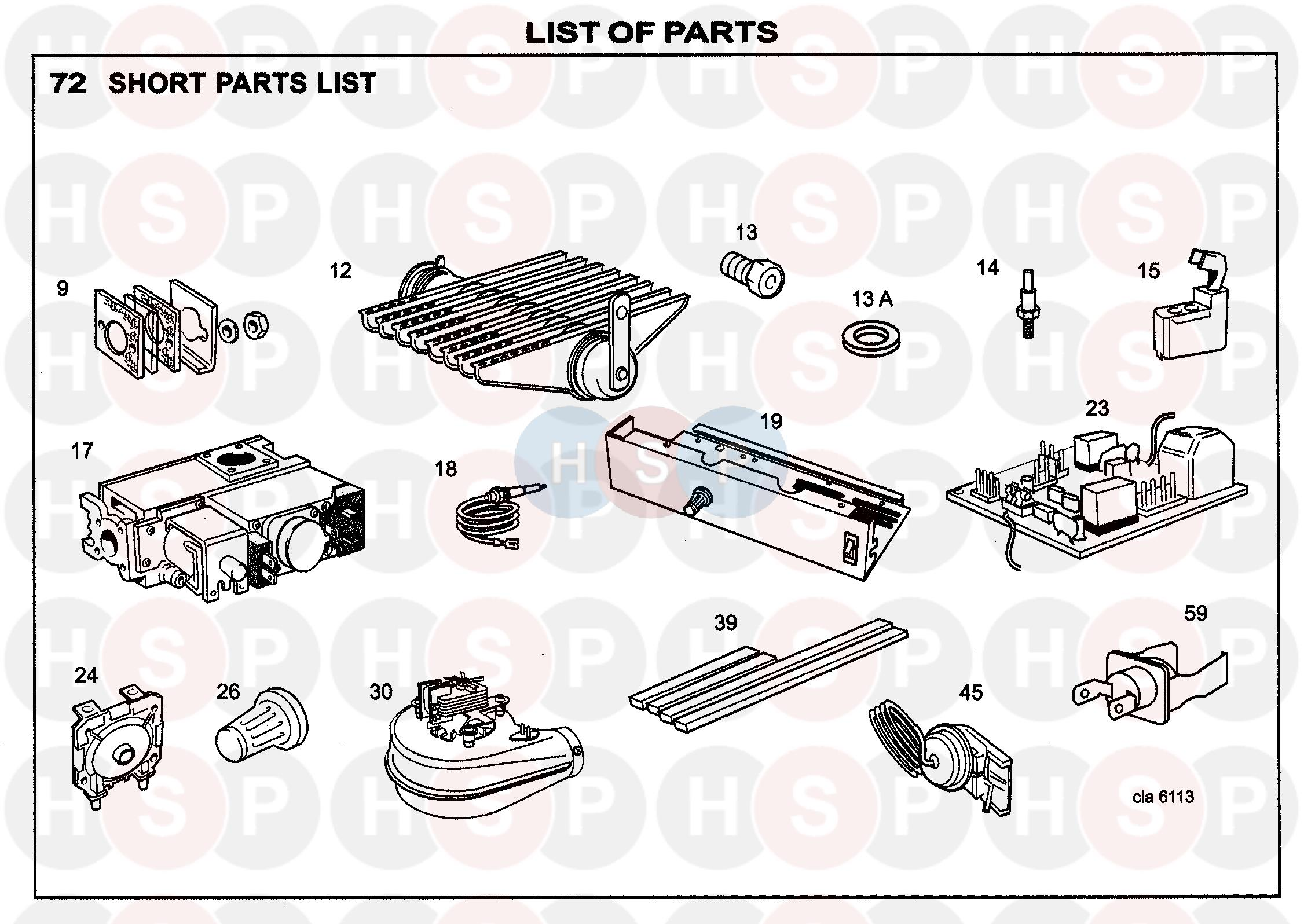 Ideal CLASSIC SE30 FF Appliance Diagram (FIRST LINE SPARES