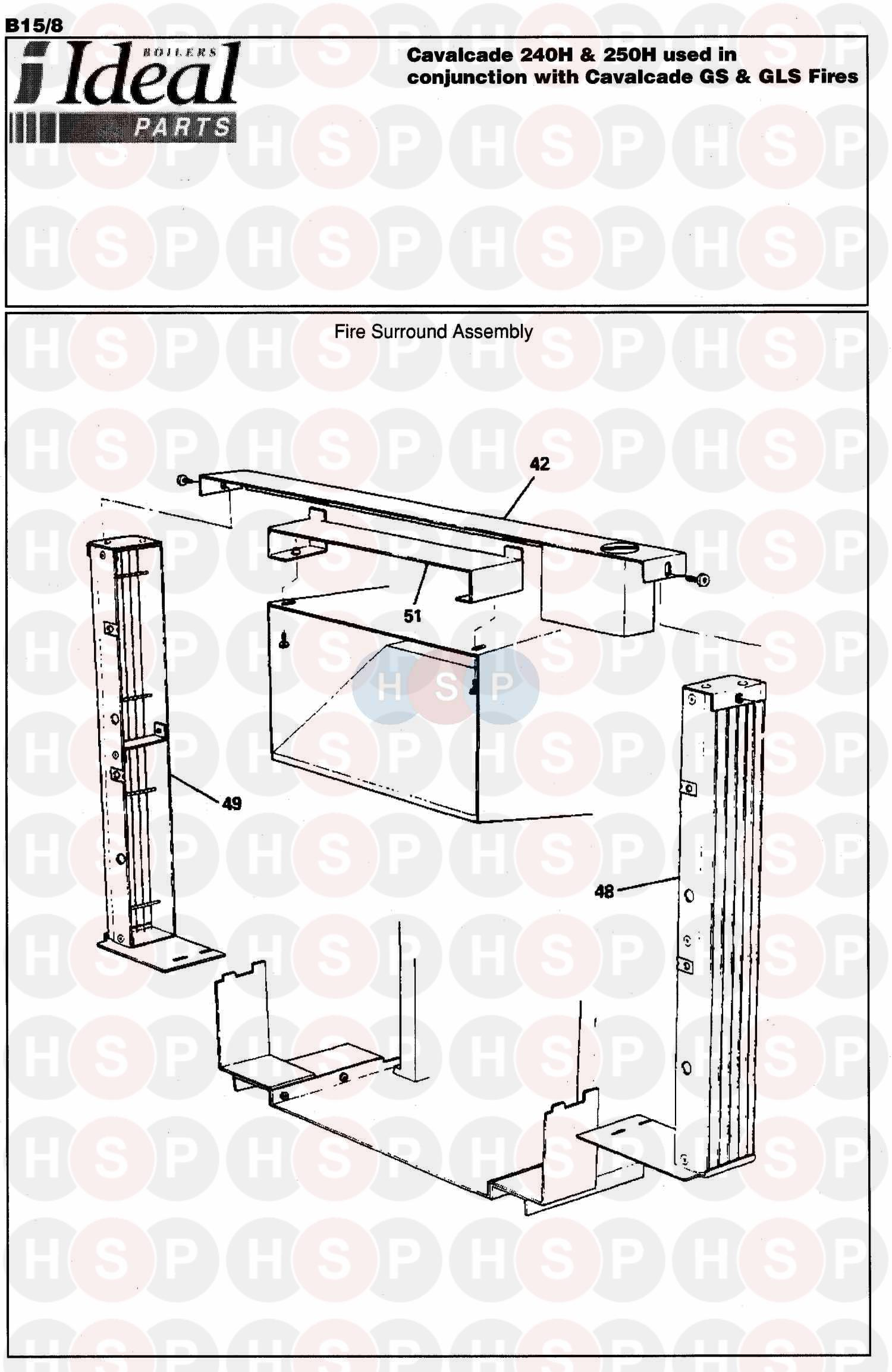 ideal cavalcade 250h appliance diagram  fire assembly 1