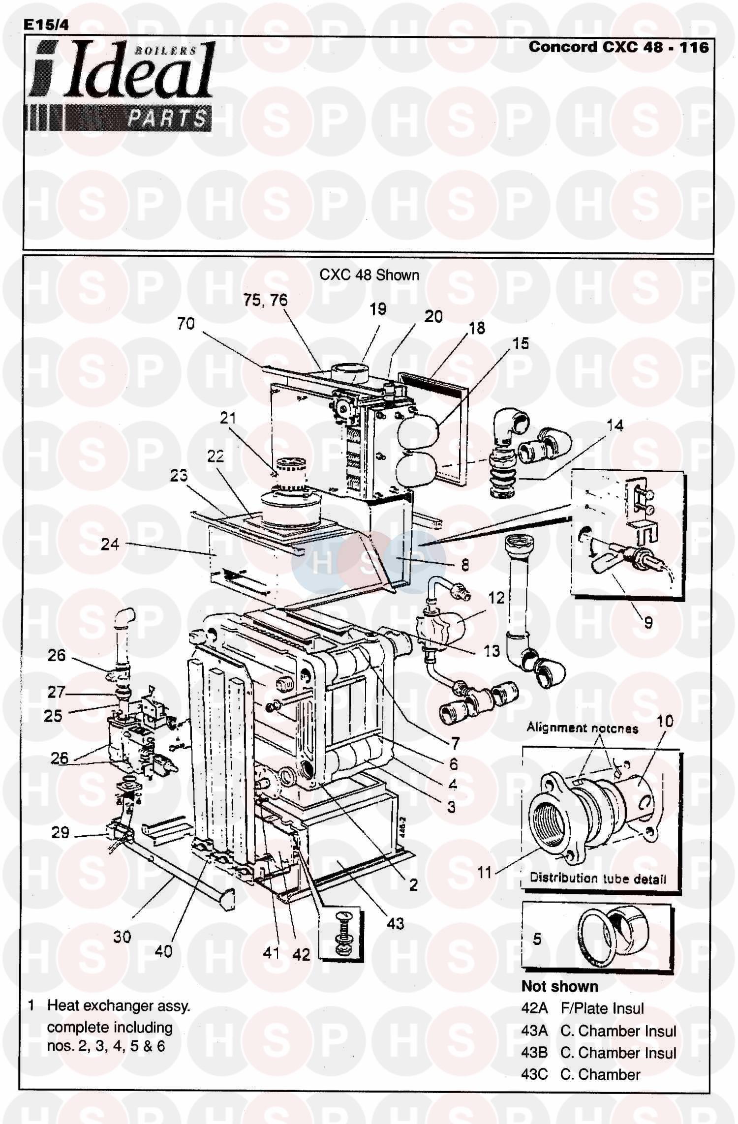 ideal concord cxc 70 boiler assembly 1 diagram. Black Bedroom Furniture Sets. Home Design Ideas