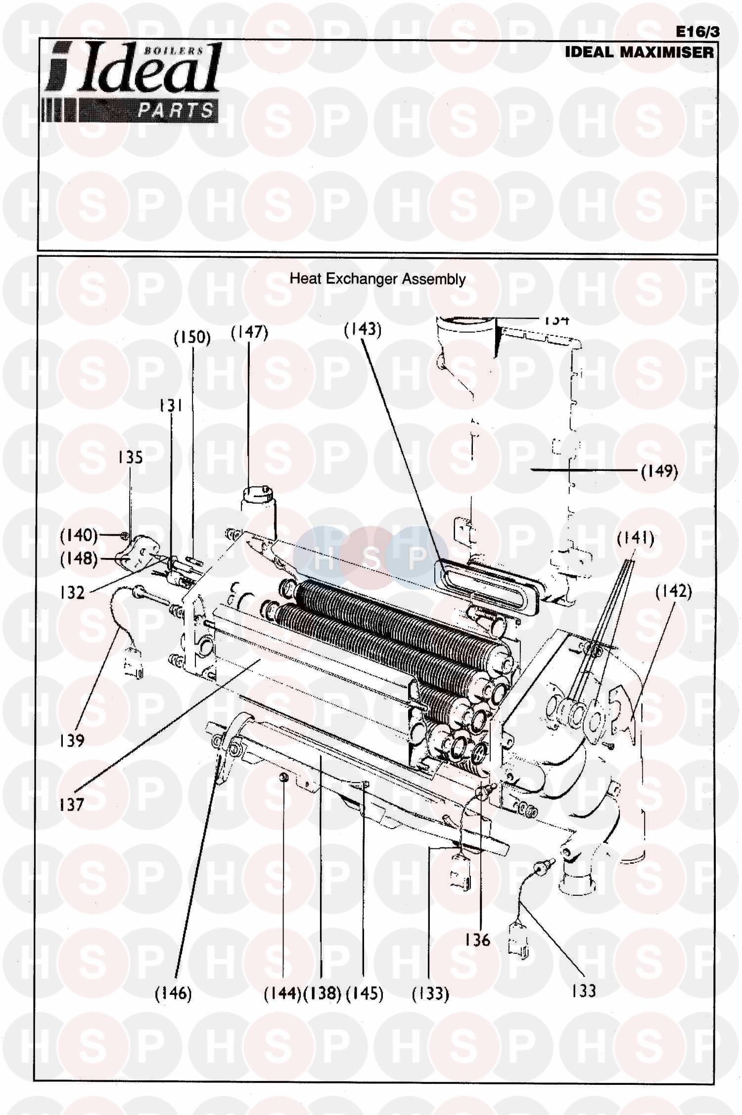 ideal maximiser appliance diagram  boiler assembly 1