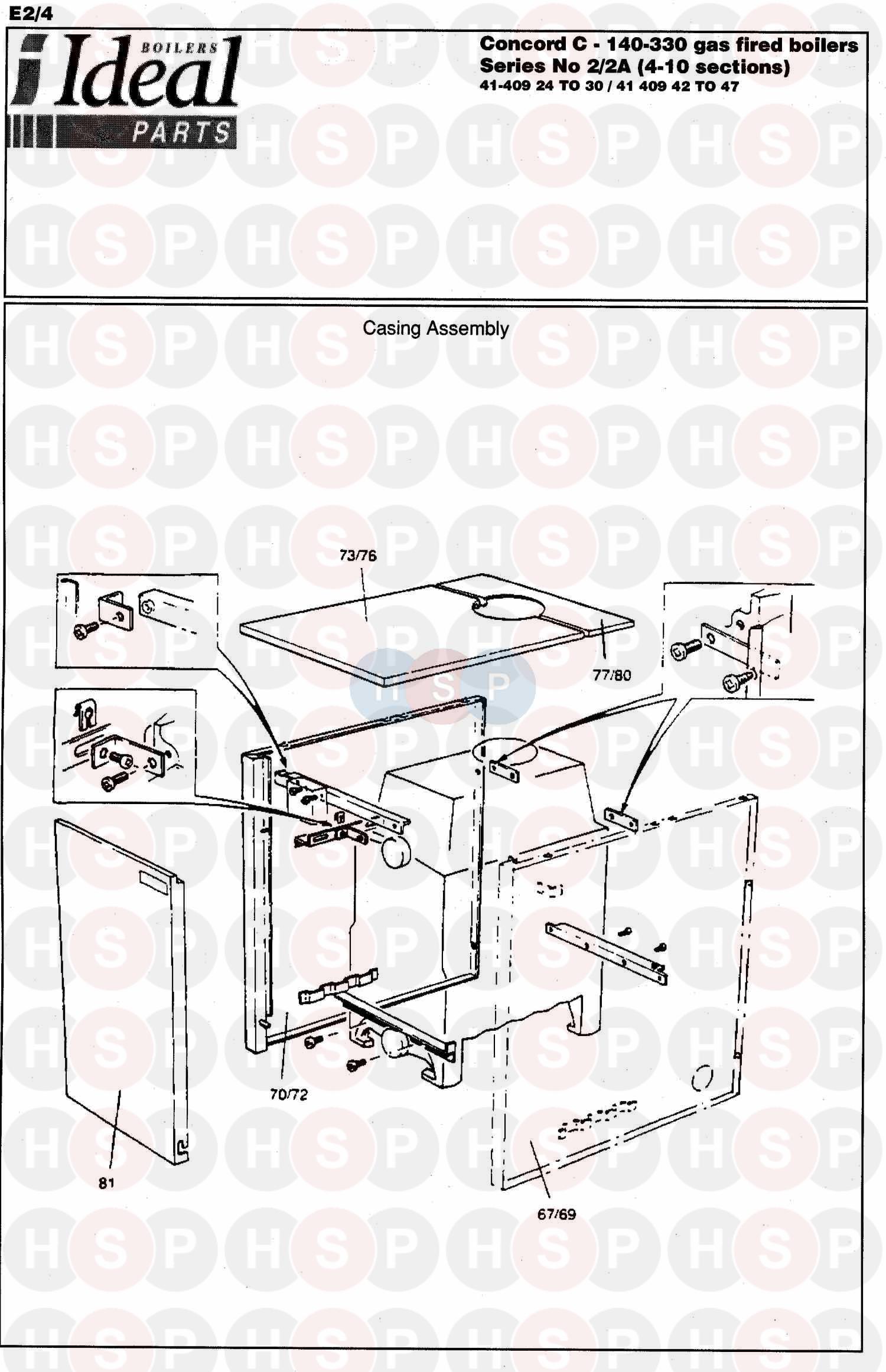 ideal concord c 2a 260 boiler casing diagram heating. Black Bedroom Furniture Sets. Home Design Ideas