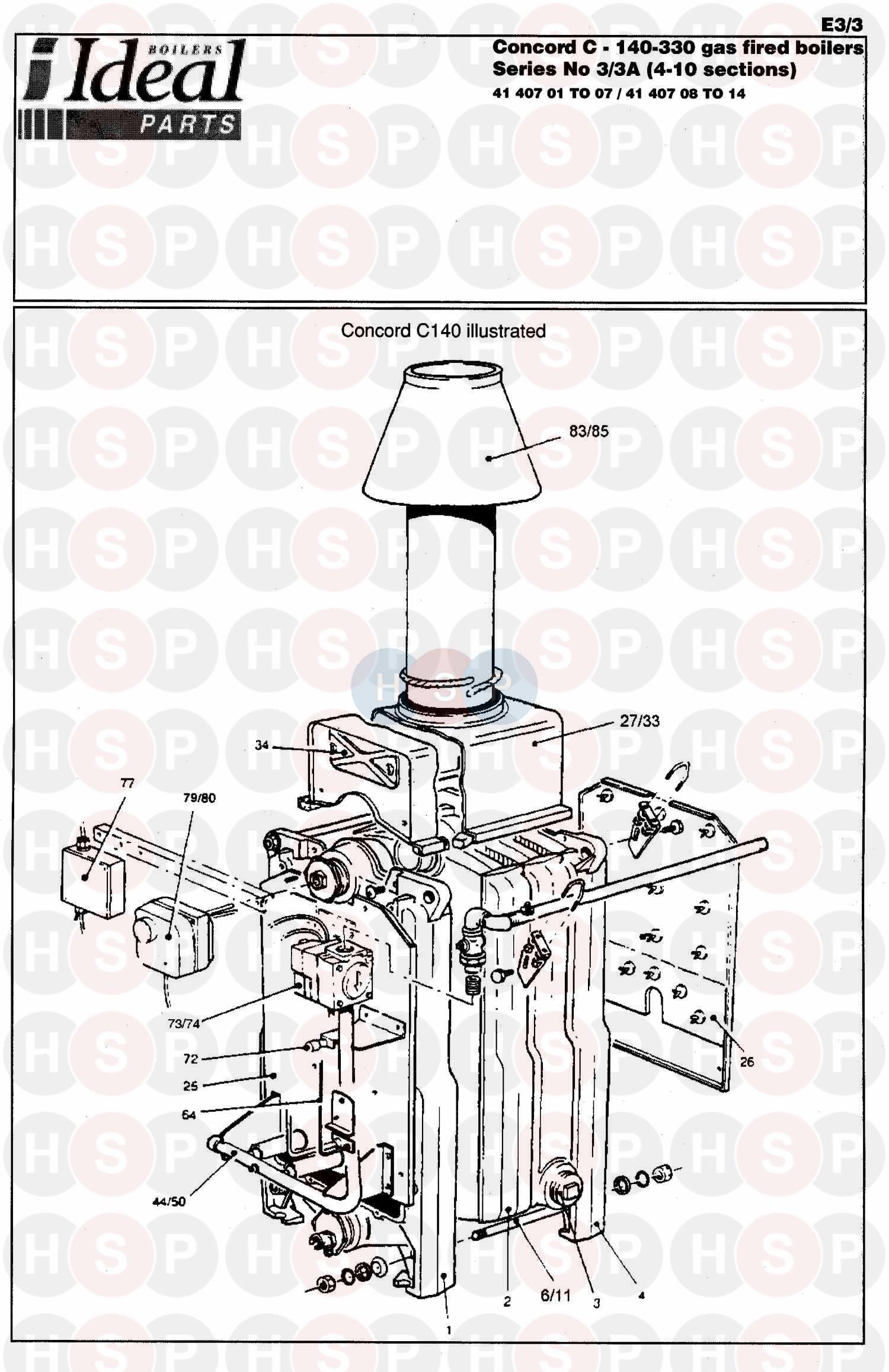 ideal concord c 3 260 boiler assembly 1 diagram. Black Bedroom Furniture Sets. Home Design Ideas