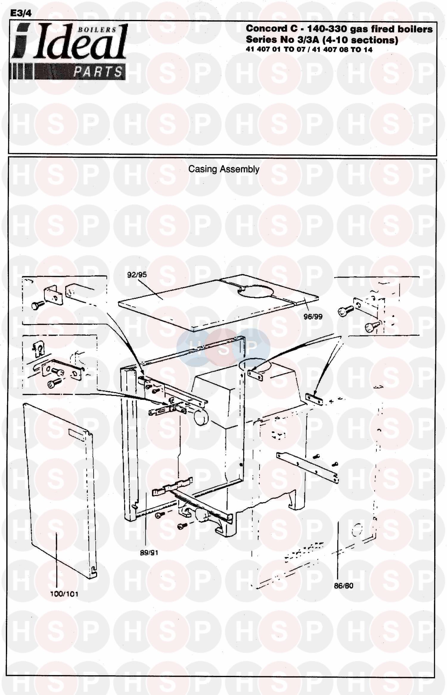 ideal concord c 3a 330 boiler casing diagram heating. Black Bedroom Furniture Sets. Home Design Ideas