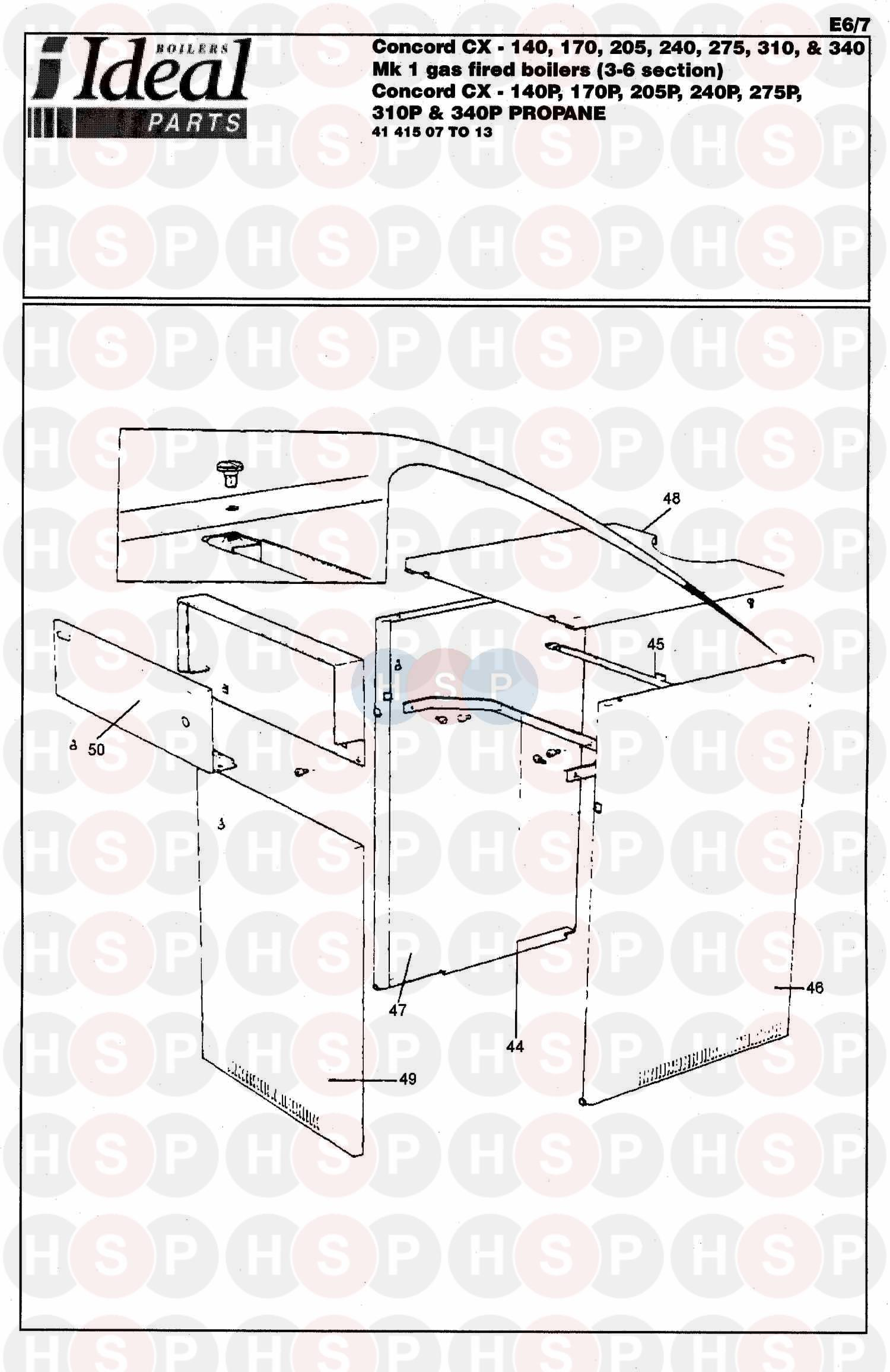 ideal concord cx 140 140p boiler casing diagram. Black Bedroom Furniture Sets. Home Design Ideas