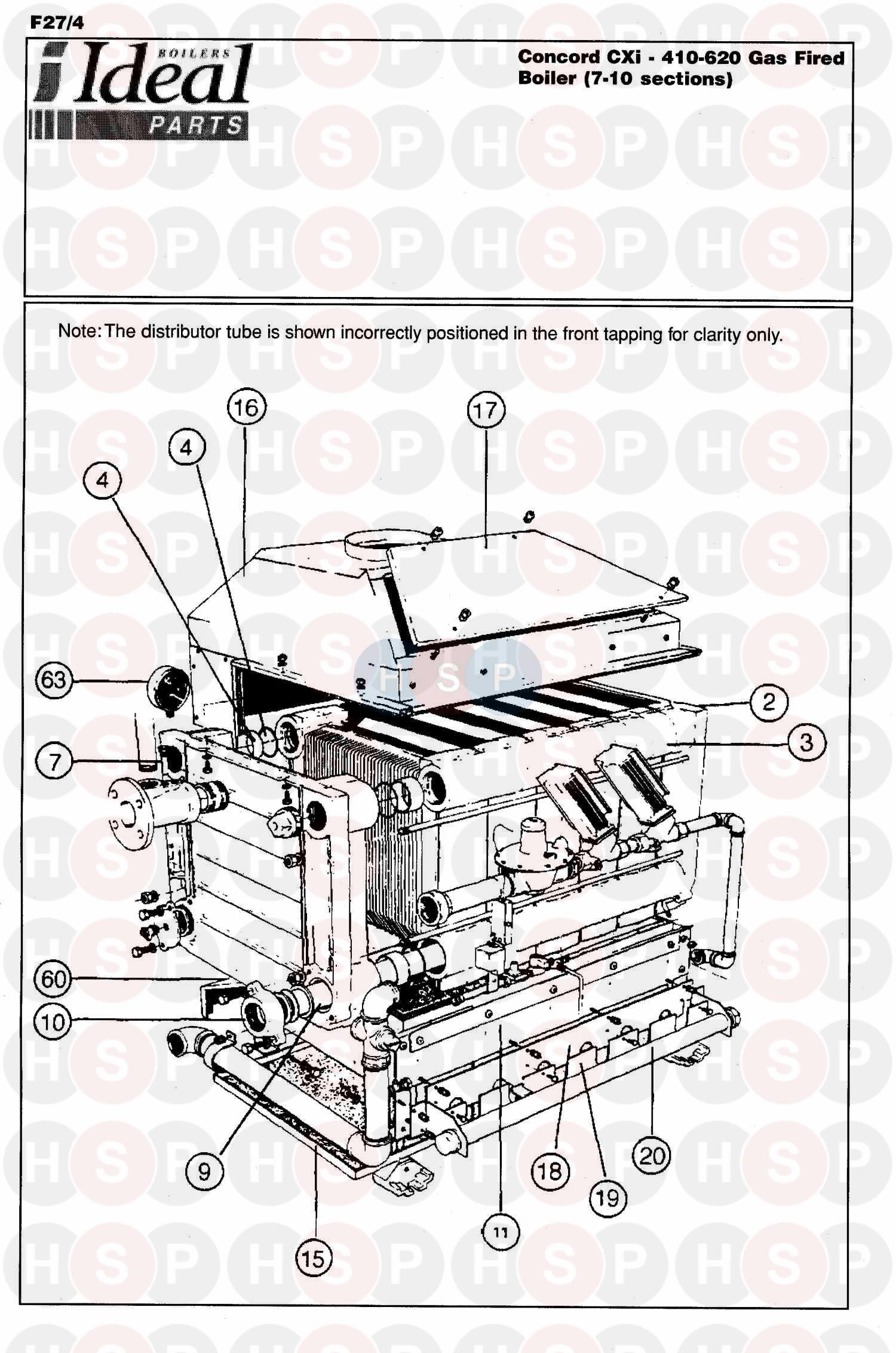 ideal concord cxi 410 appliance diagram  boiler assembly 1