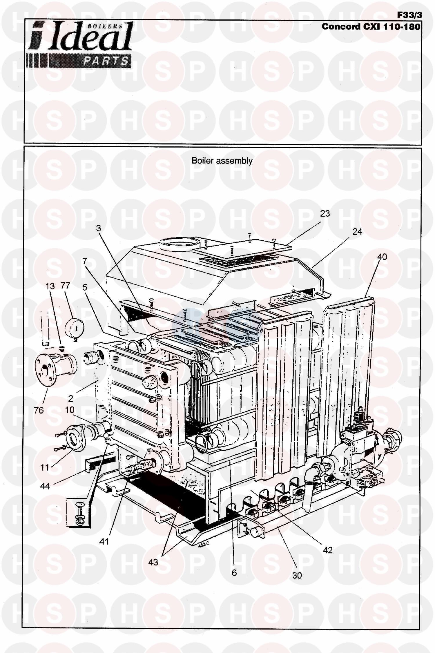 Ideal CONCORD CXI 120 SERIES 2 (BOILER ASSEMBLY 1) Diagram