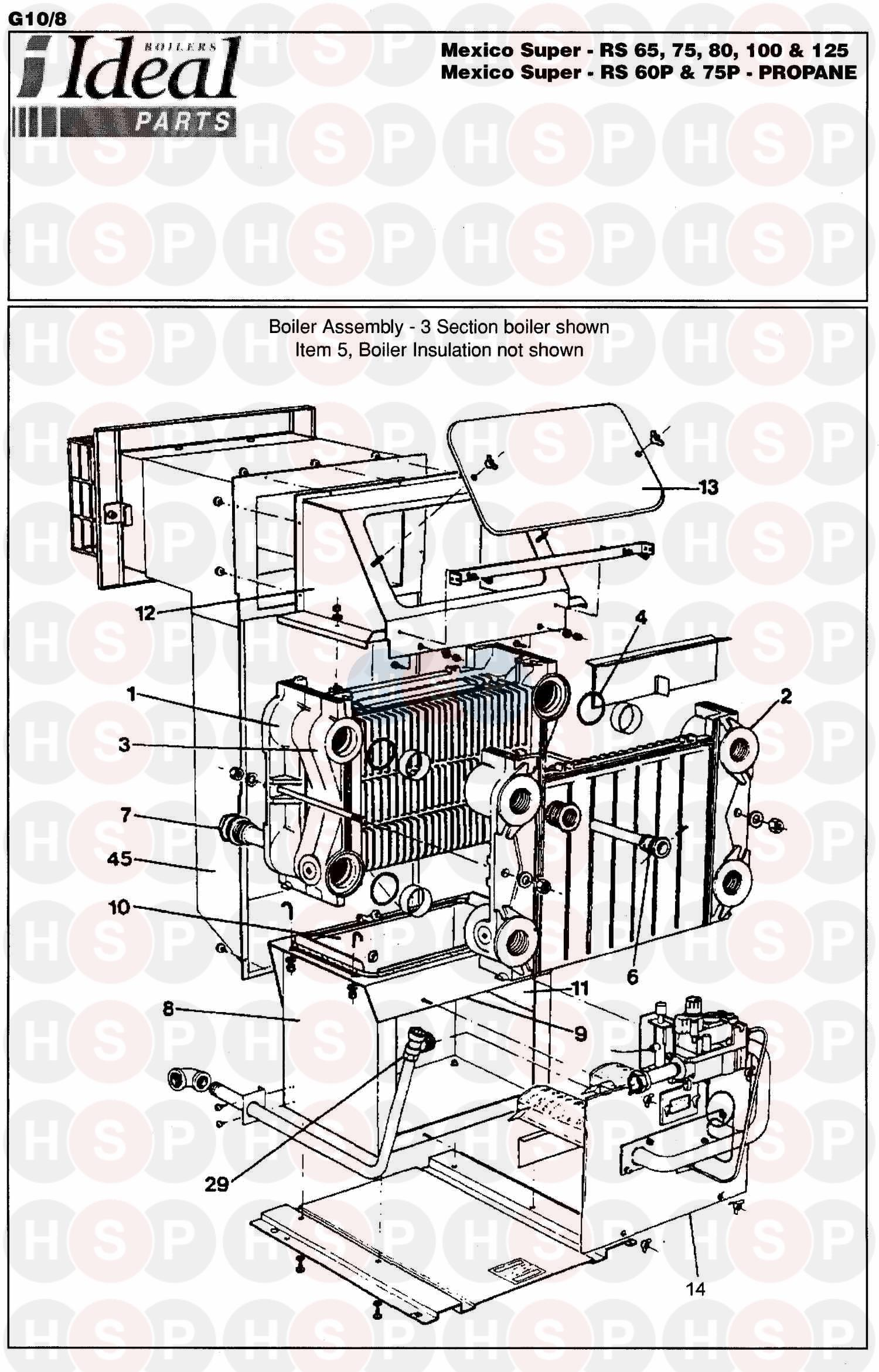 Ideal MEXICO SUPER RS 125 (BOILER ASSEMBLY 1) Diagram