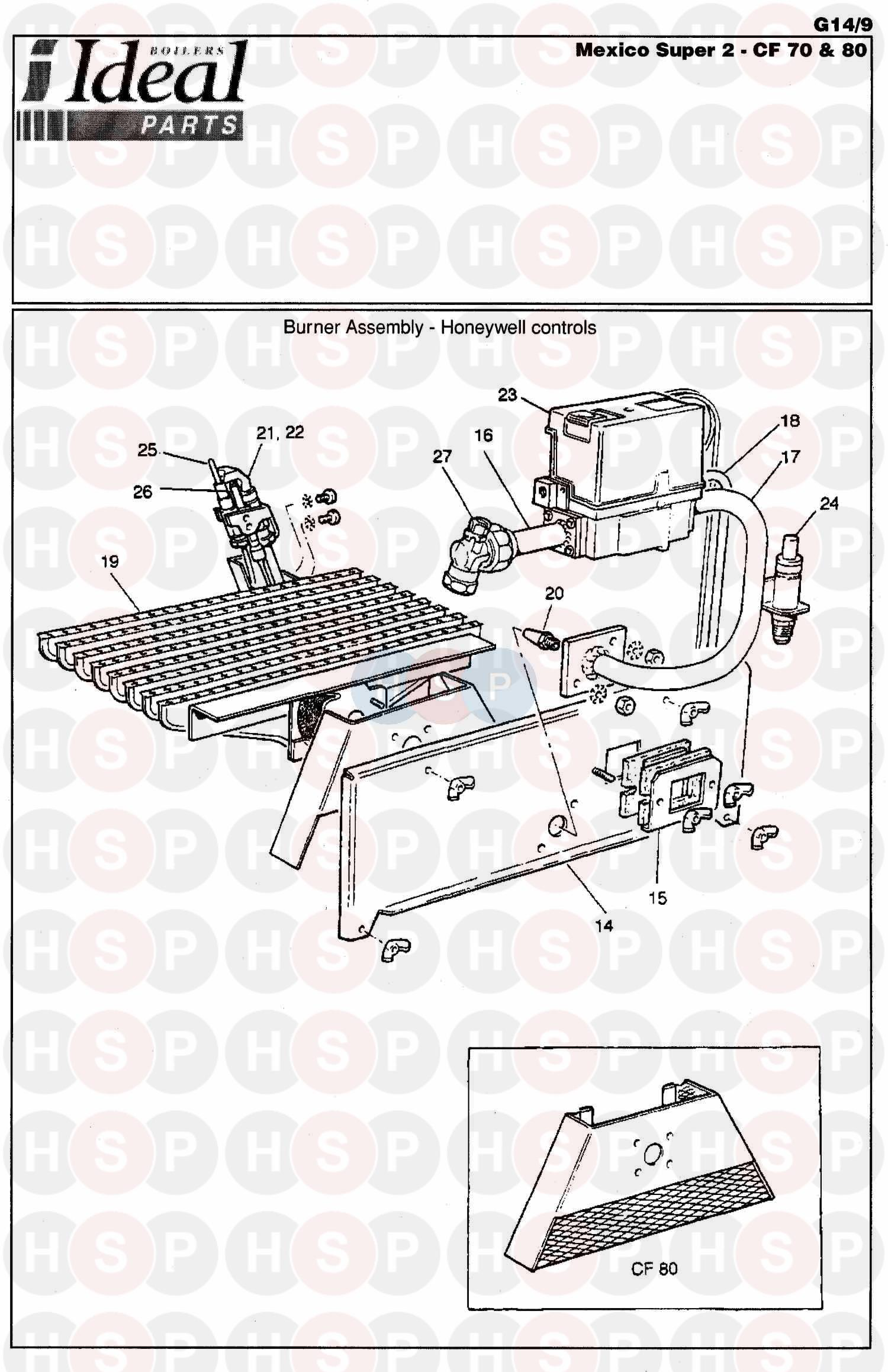 Ideal MEXICO SUPER 2 CF 75P (Burner Control Ass 2) Diagram