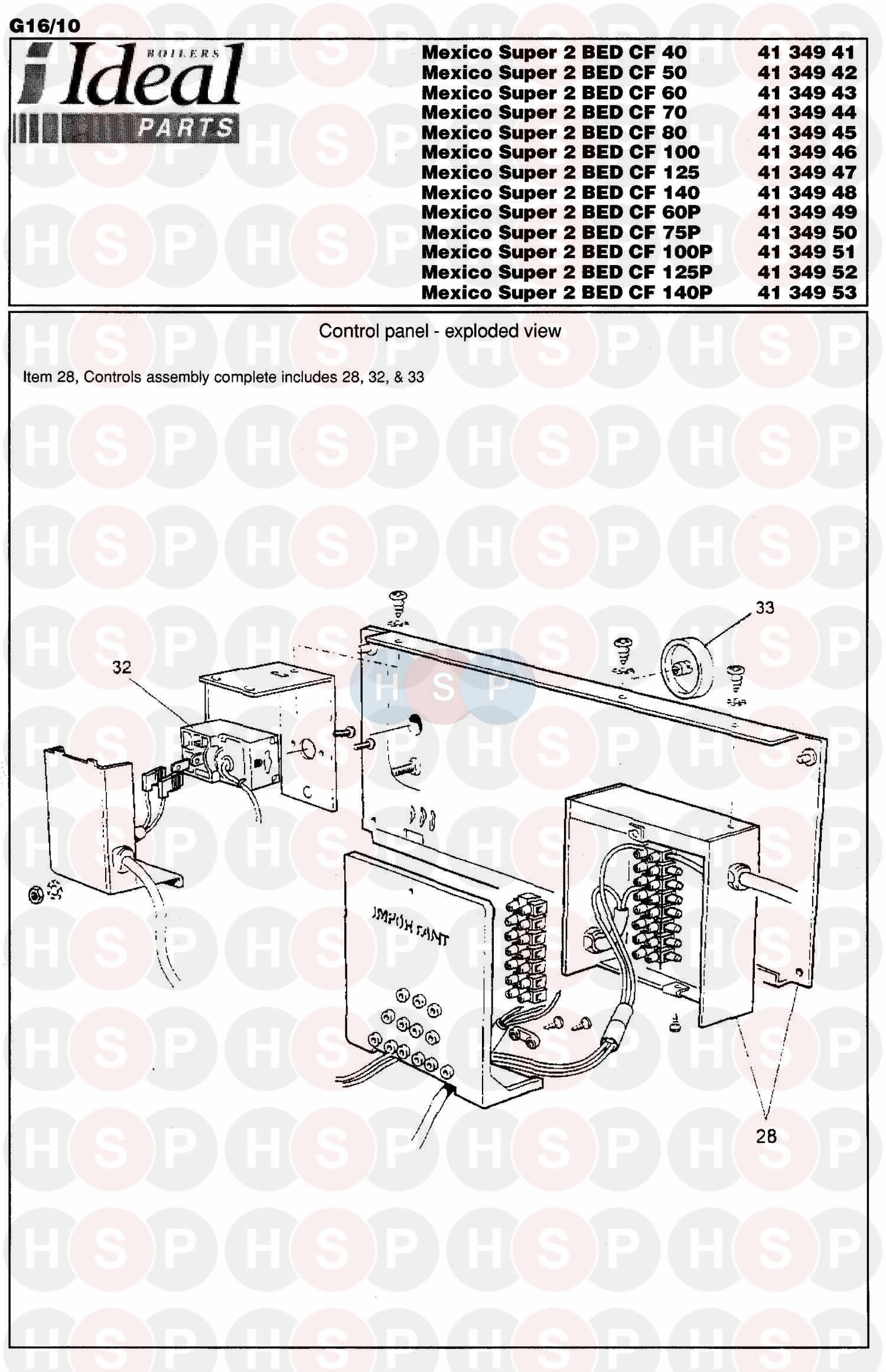 Ideal Mexico 2 B E D Super Cf 125  Control Box Ass Diagram